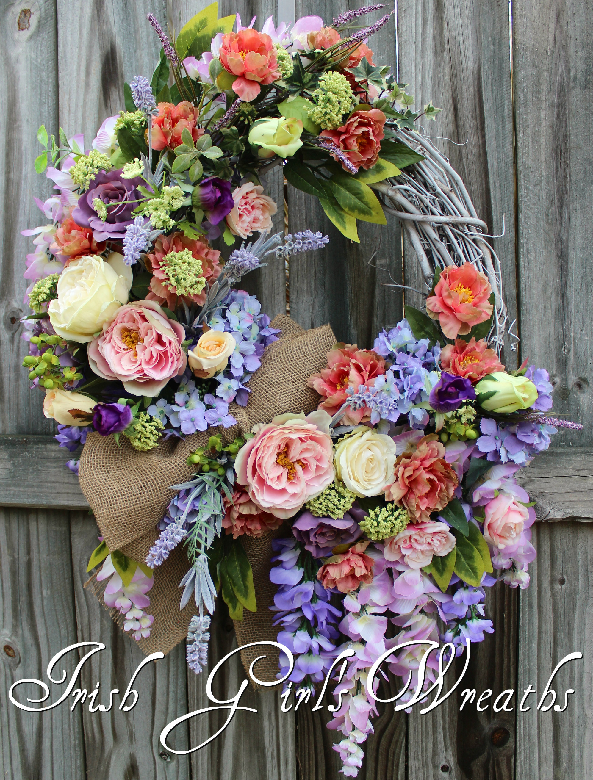 XL French Country Splendor Wreath, Spring Summer French Floral: lavender, Wisteria, Roses, Peony