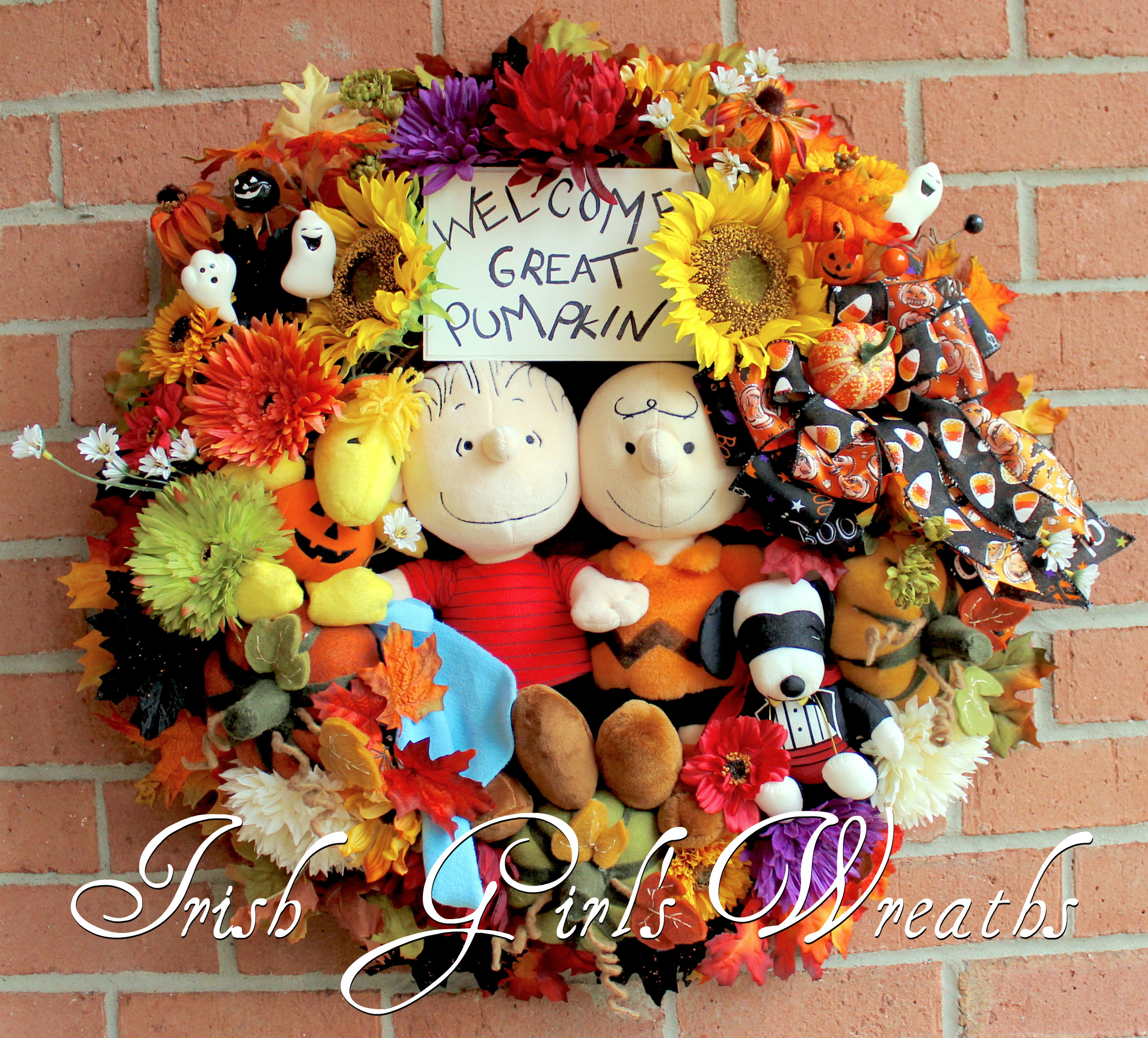 Great Pumpkin Charlie Brown Halloween Wreath, for Kathi
