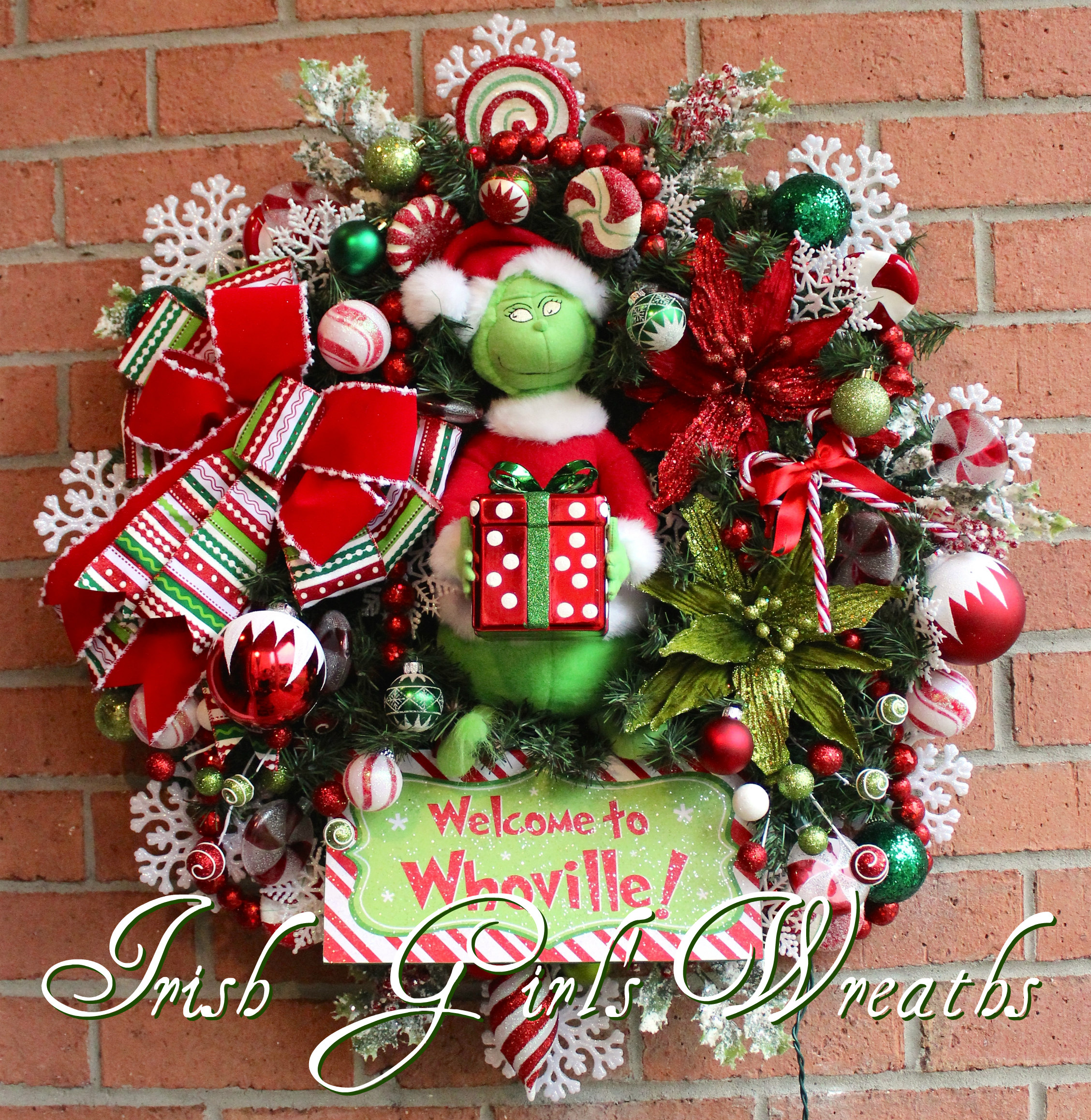 Grinch Wreath, Large Pre-lit Welcome to Whoville Grinch Christmas Wreath