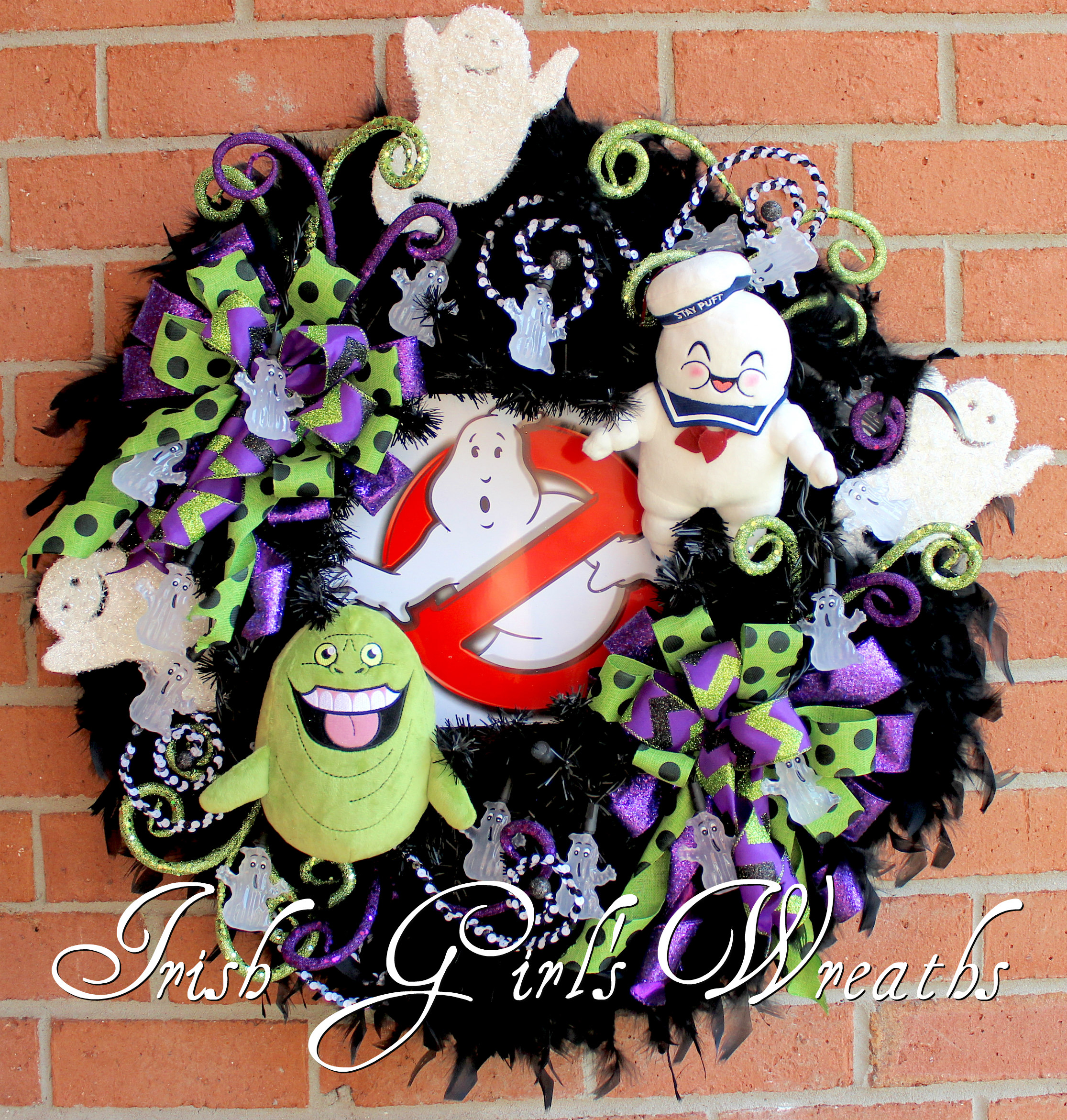 GhostBusters Halloween Wreath with LED ghost lights, Slimer Ghost, StayPuft Marshmallow Man, Who You Gonna Call