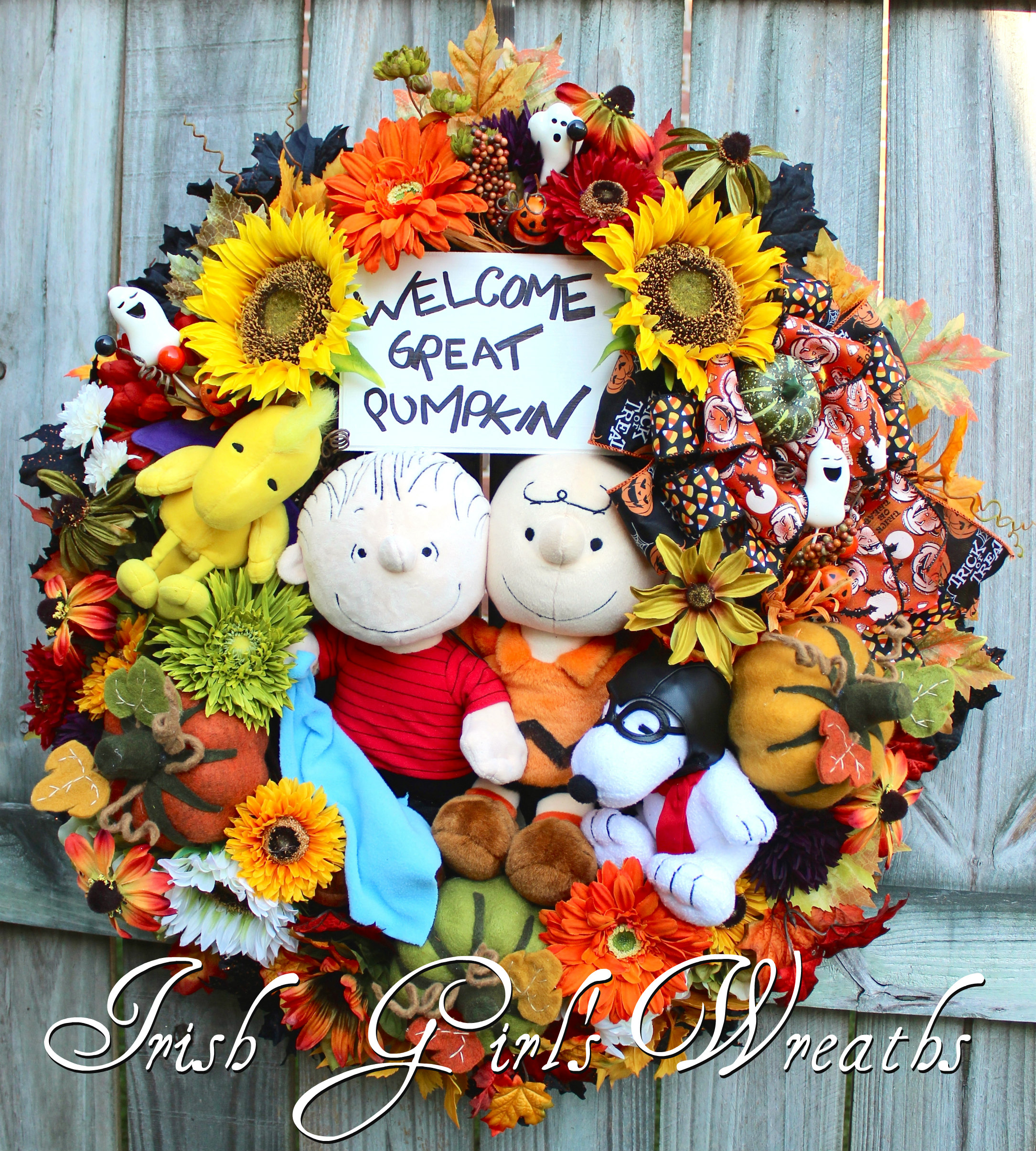 Welcome Great Pumpkin Peanuts Halloween Wreath, Custom for Gina