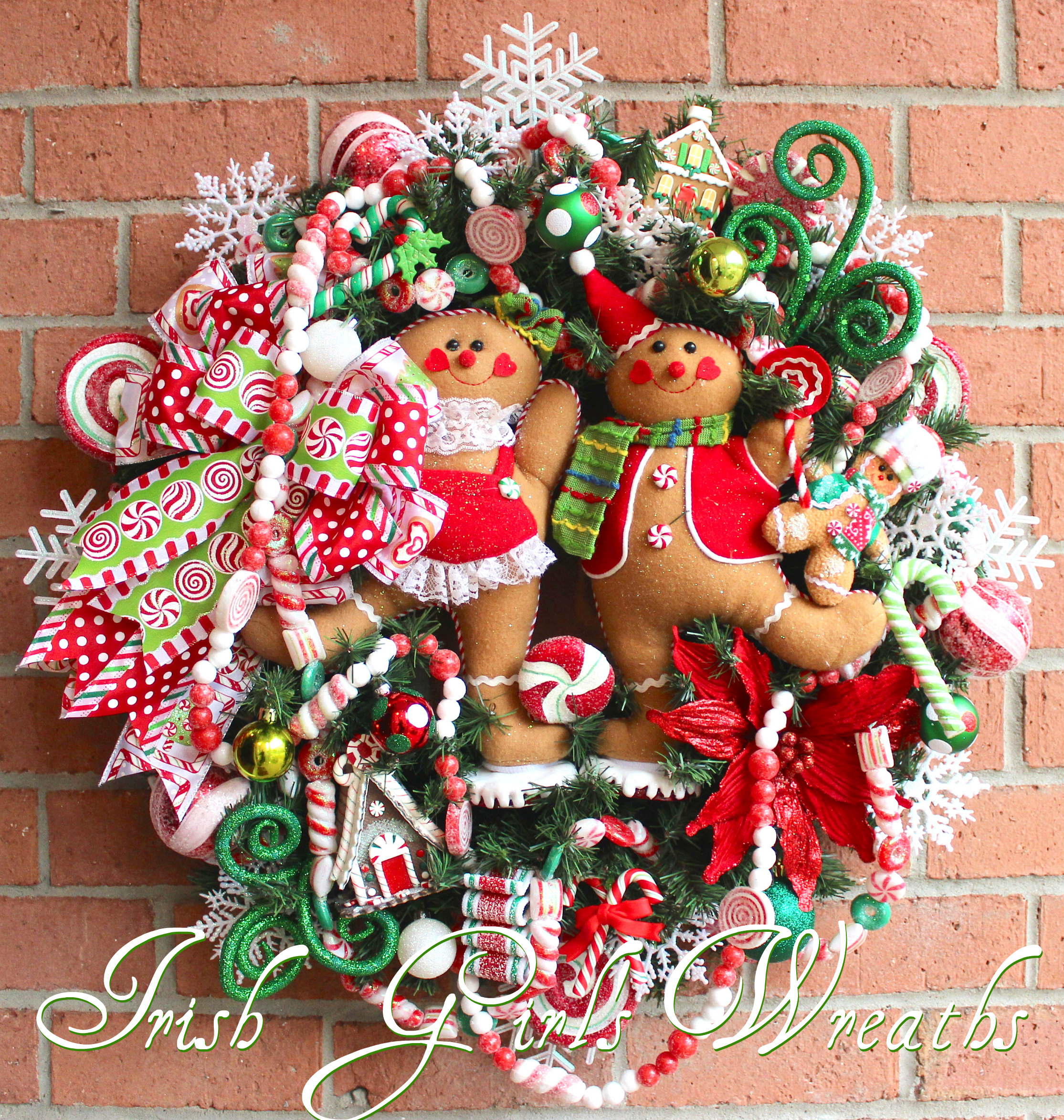 Fun Gingerbread Family Peppermint Candy Christmas Wreath