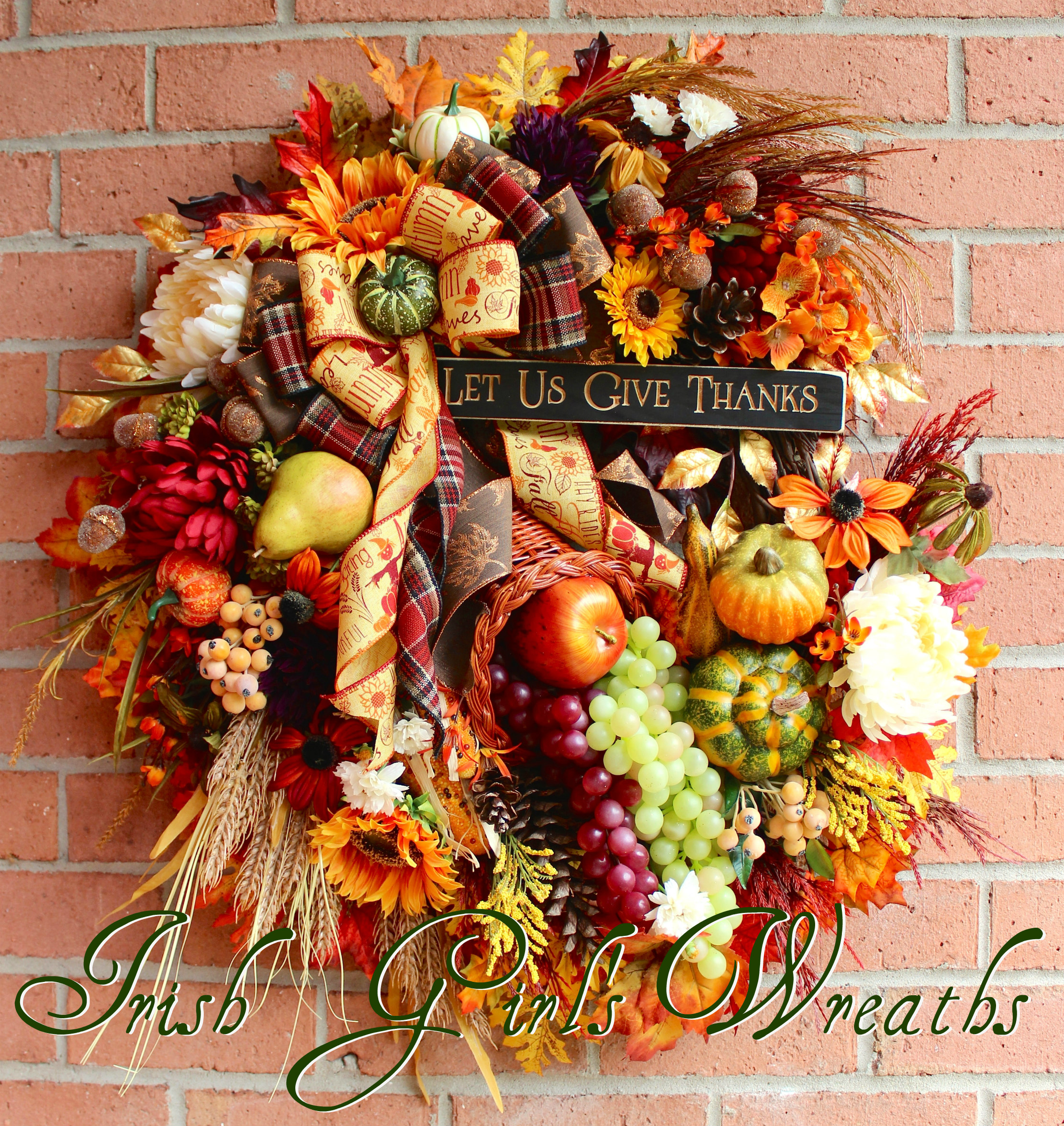Give Thanks Cornucopia Wreath, Large Autumn Thanksgiving floral, Fall Wreath, Grapes, Pumpkins, Sunflowers