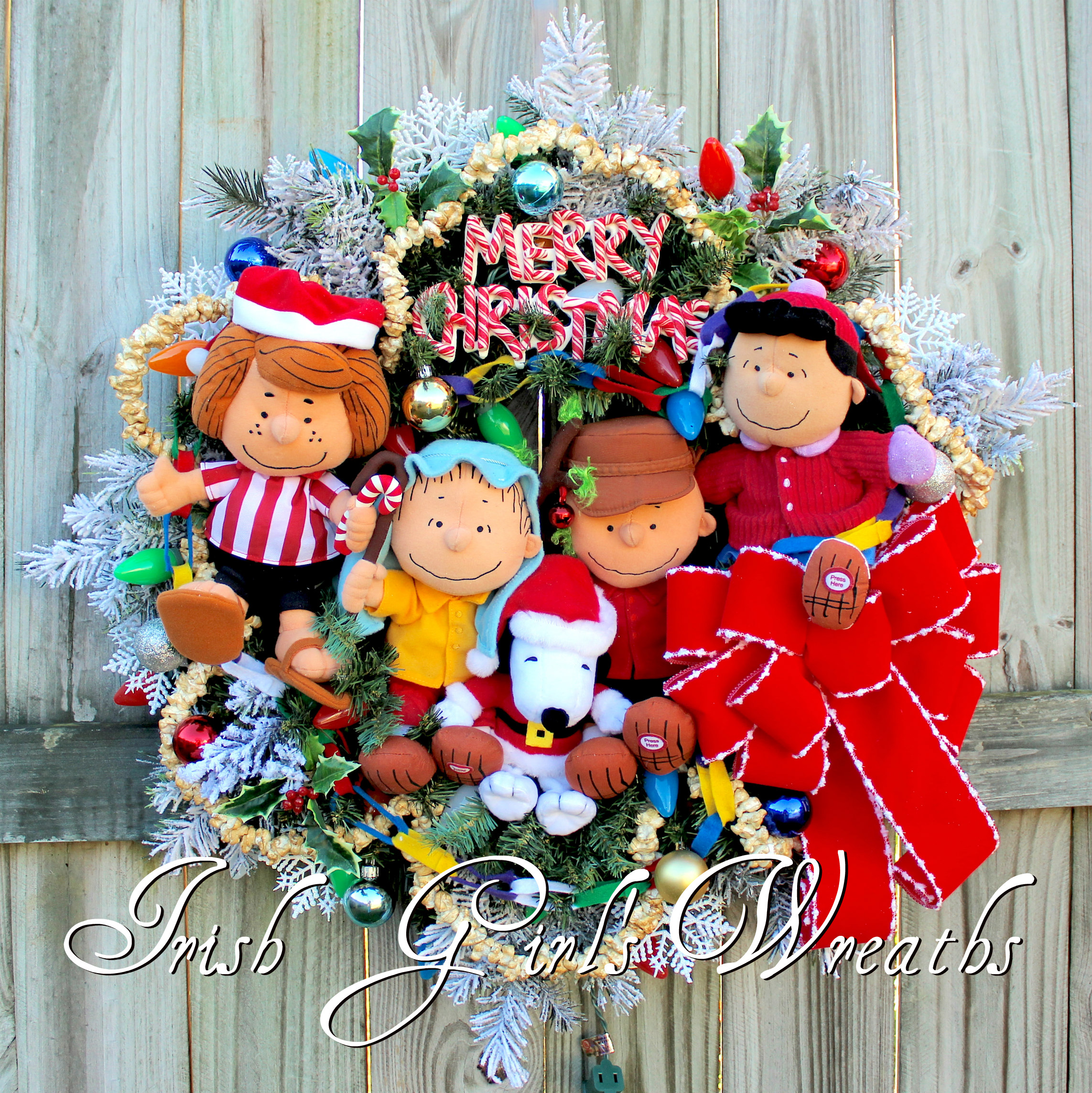 Deluxe Peanuts Gang Christmas Wreath, Charlie Brown Christmas Wreath, Lucy, Linus, Peppermint Patty, Snoopy- Custom for Graham