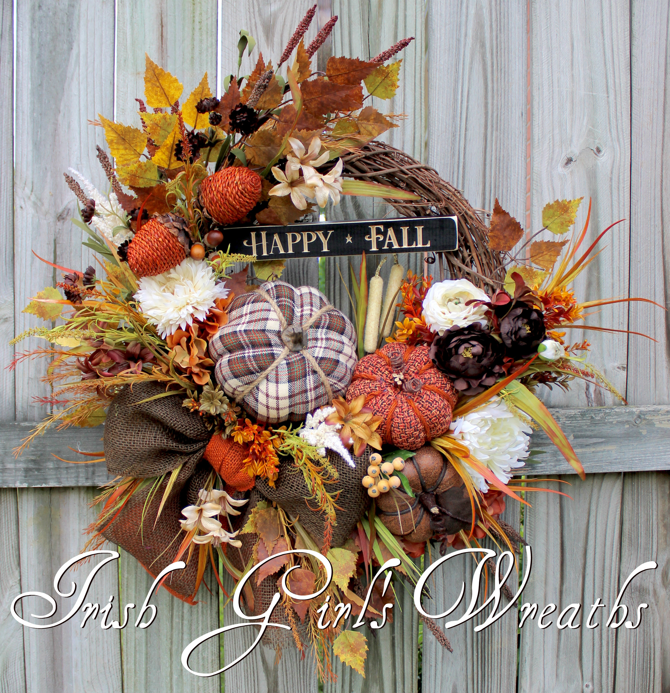 Rustic Happy Fall Tweed Pumpkin Floral Wreath