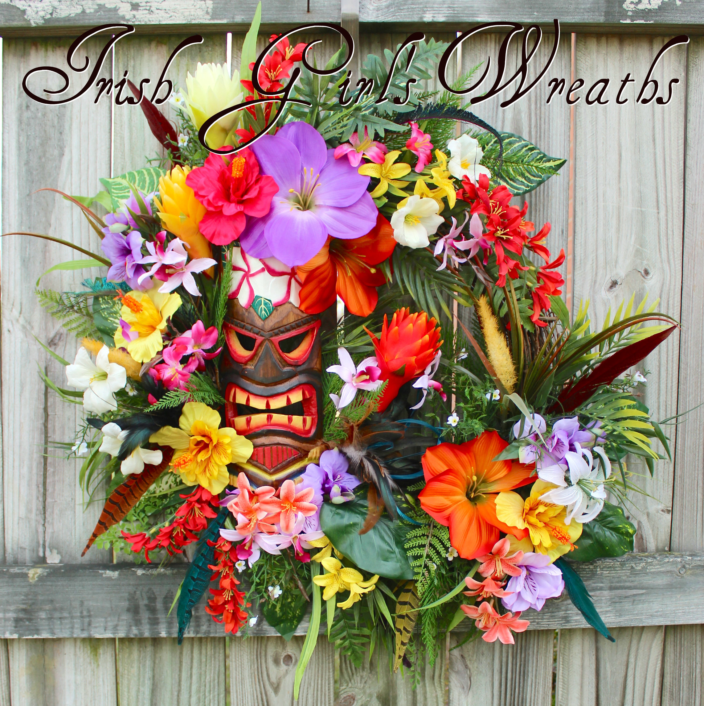 Deluxe Hawaiian Tropical Summer Tiki Island Luau Wreath