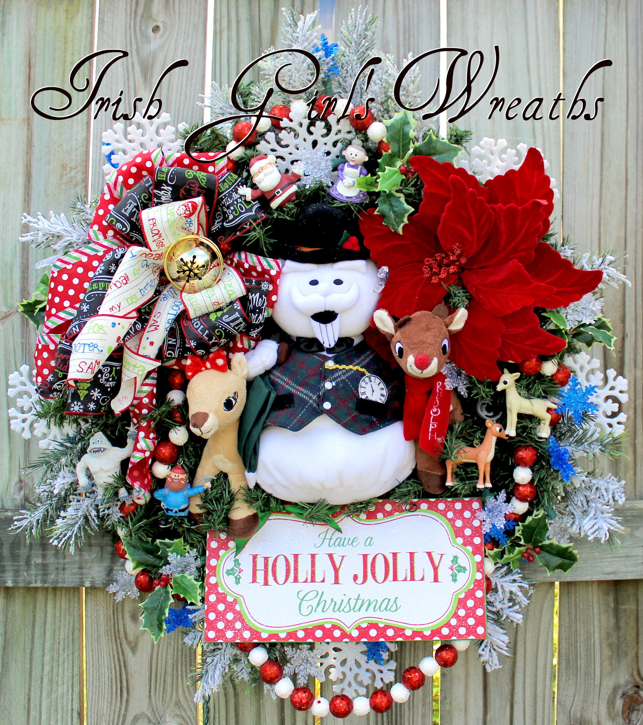 Sam the Snowman Clarice and Rudolph Holly Jolly Christmas Wreath with snowflake lights