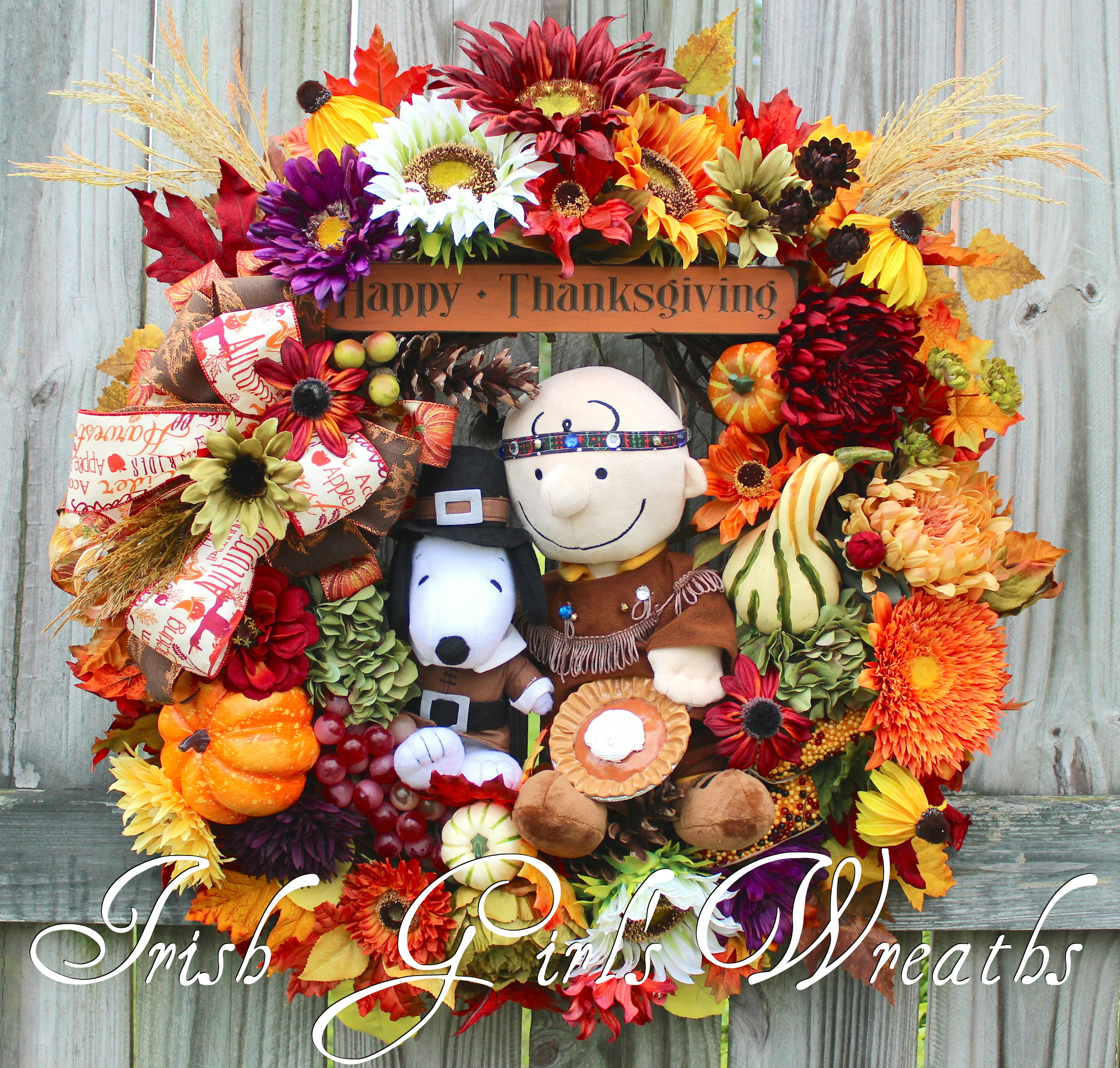 Indian Charlie Brown and Pilgrim Snoopy Peanuts Thanksgiving Wreath – NO REPRODUCTIONS