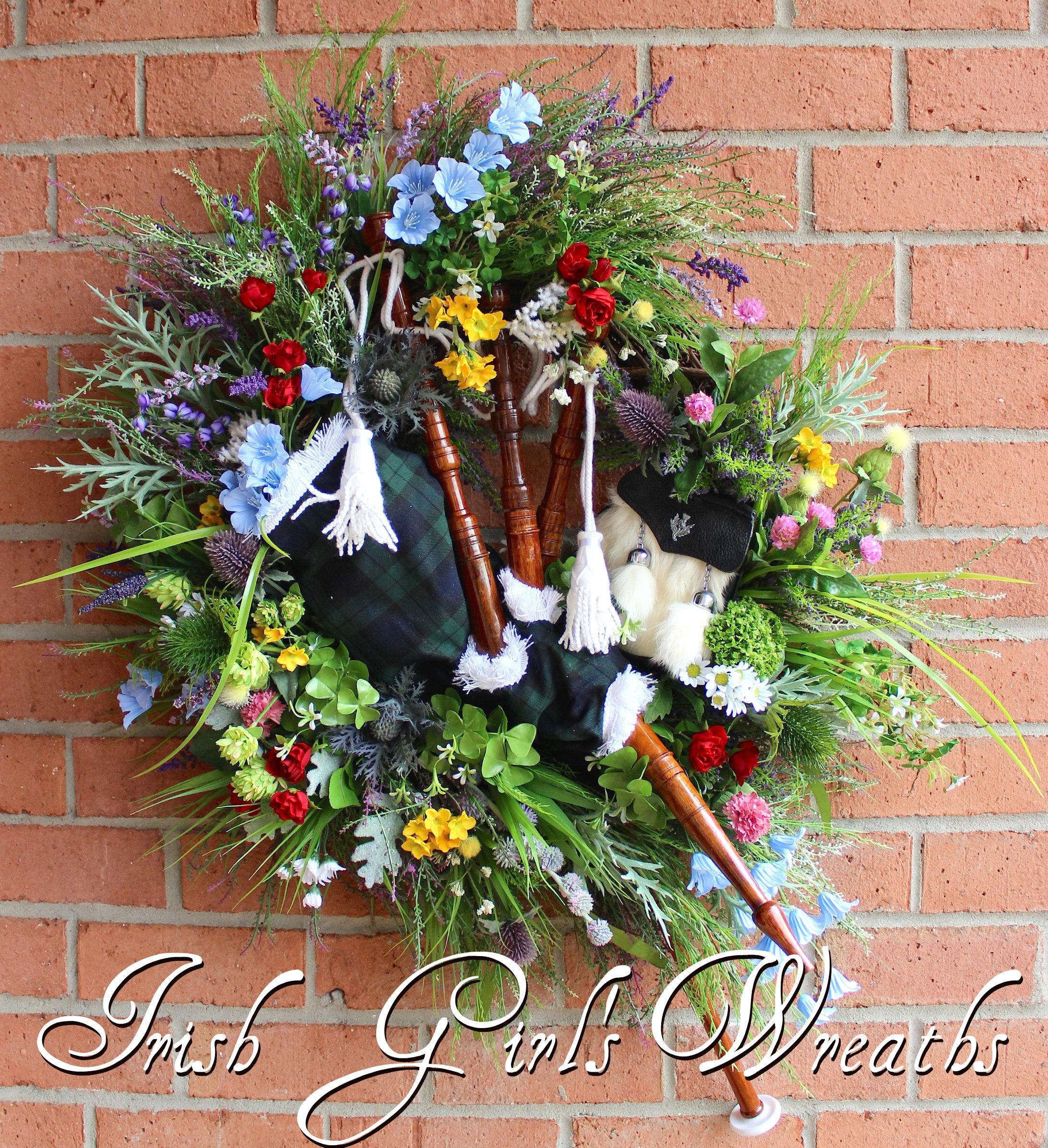 Irish Wildflower Bagpipes and Sporran Wreath, Custom Order