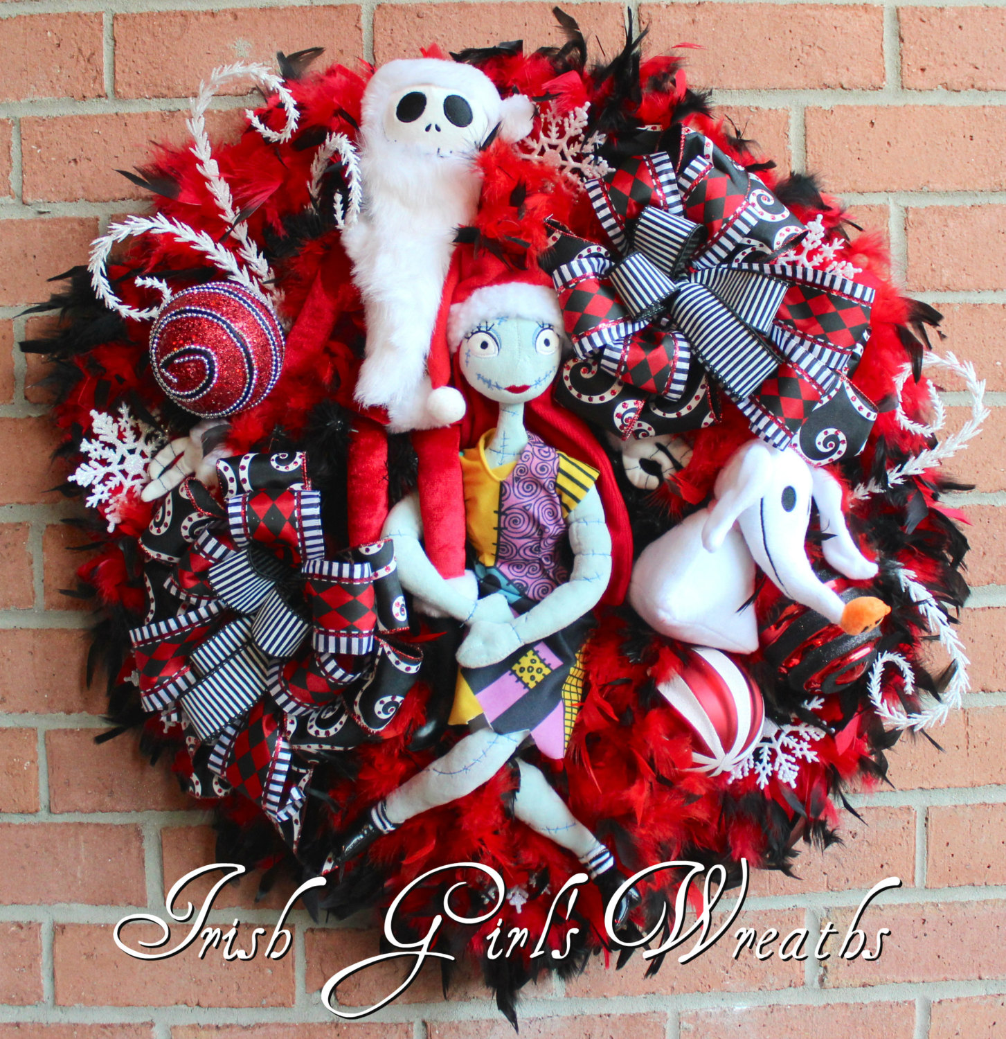 Sandy Claws Nightmare Before Christmas Wreath, Jack Skellington & Sally, and Zero Christmas Wreath