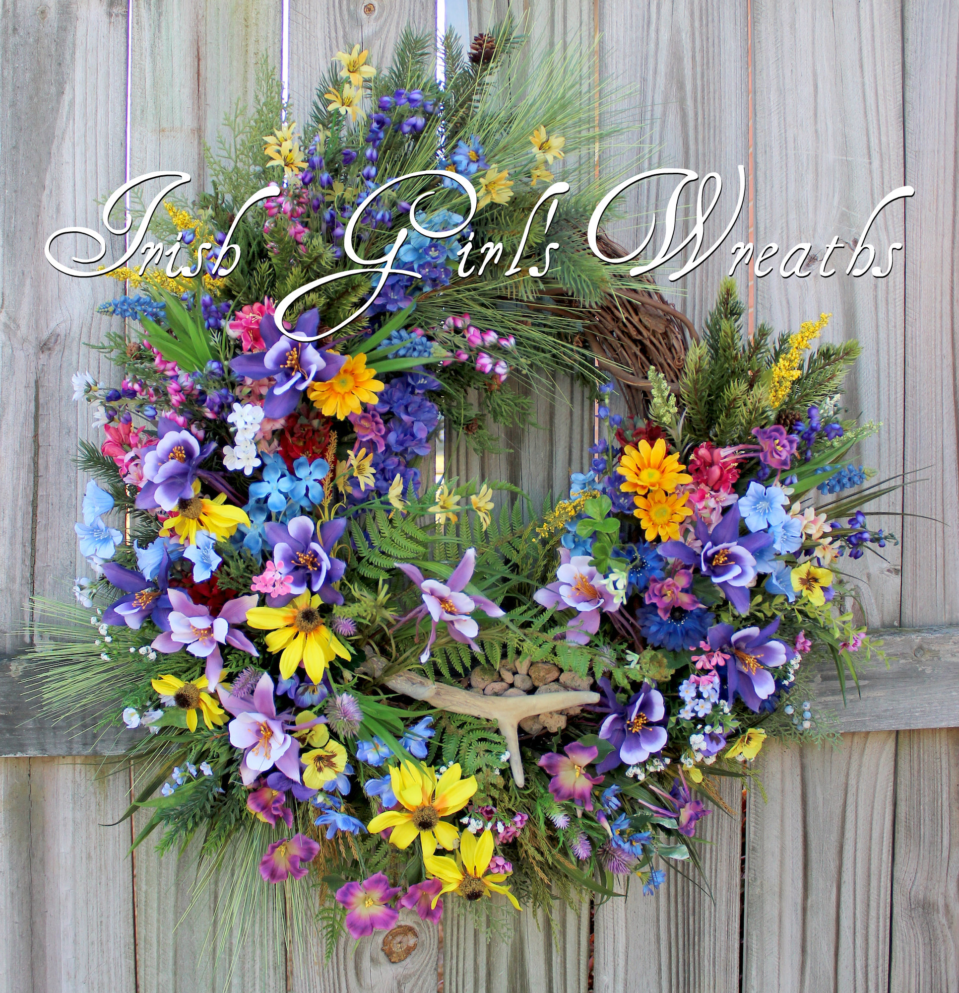 Colorado Columbine Mountain Wildflowers Wreath, Custom for Jen