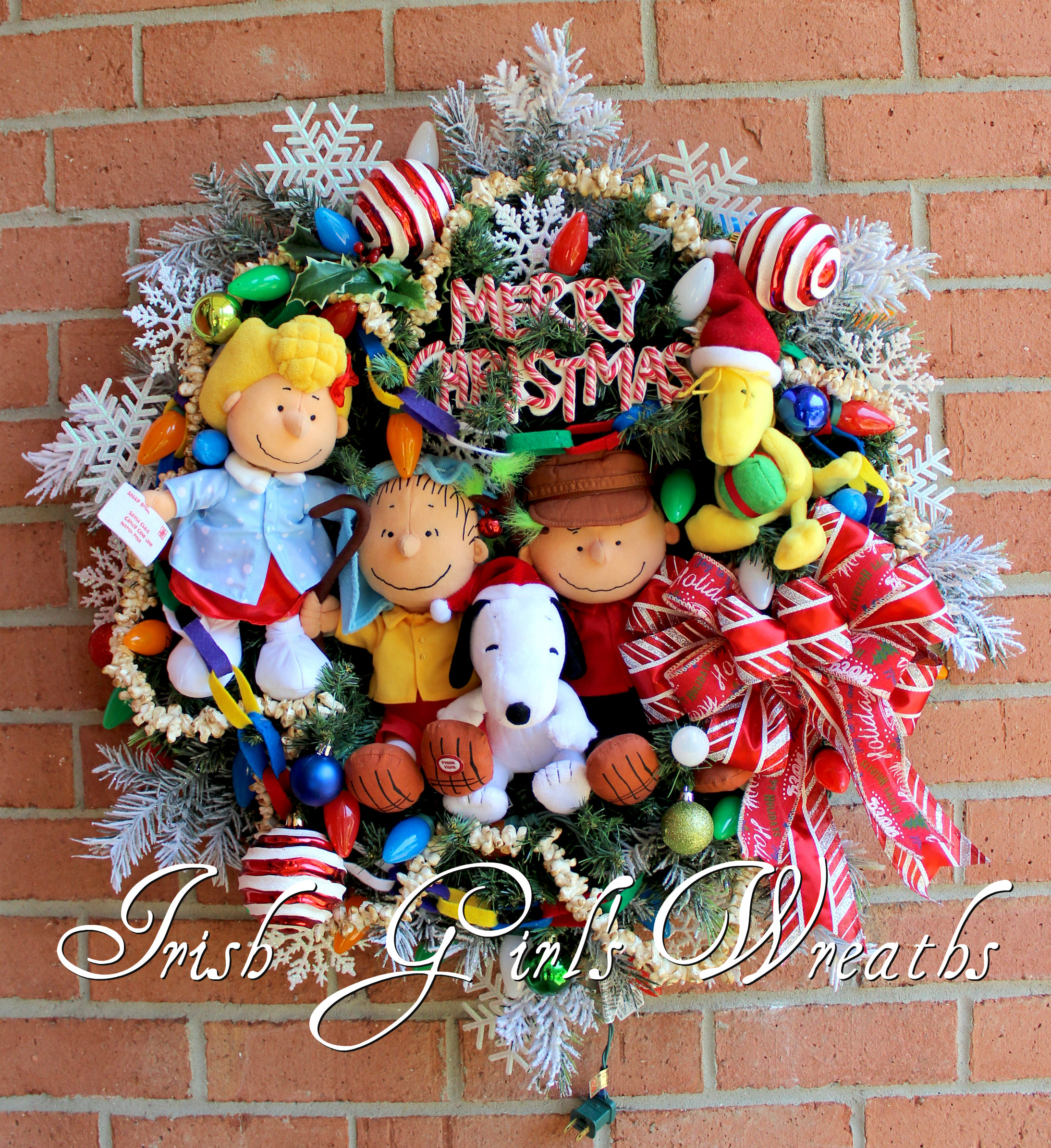 Deluxe Peanuts Gang Merry Christmas Charlie Brown Wreath, Custom for Jessica