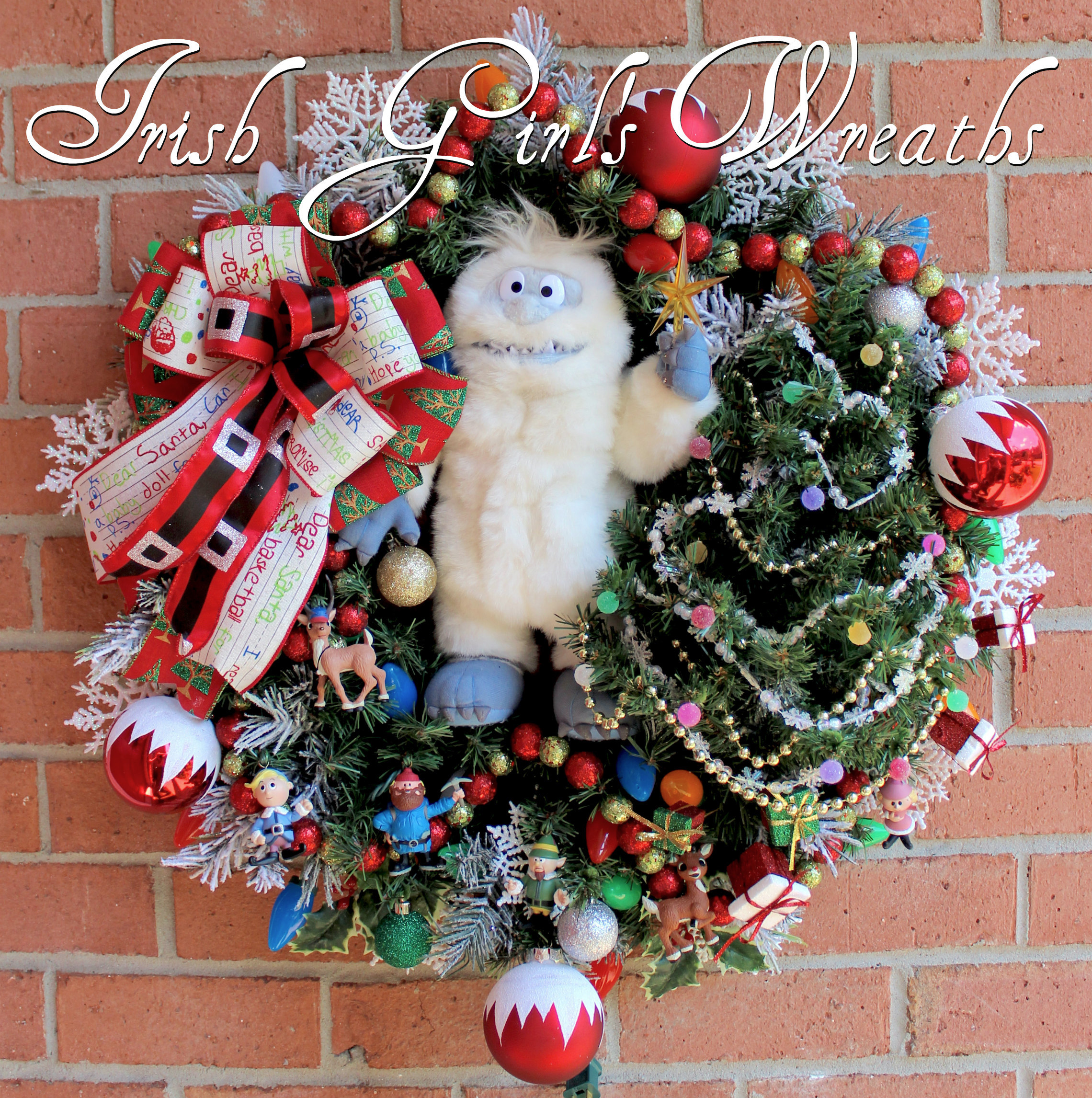 Bumble Snow Monster Rudolph Christmas Wreath, Custom for Joan