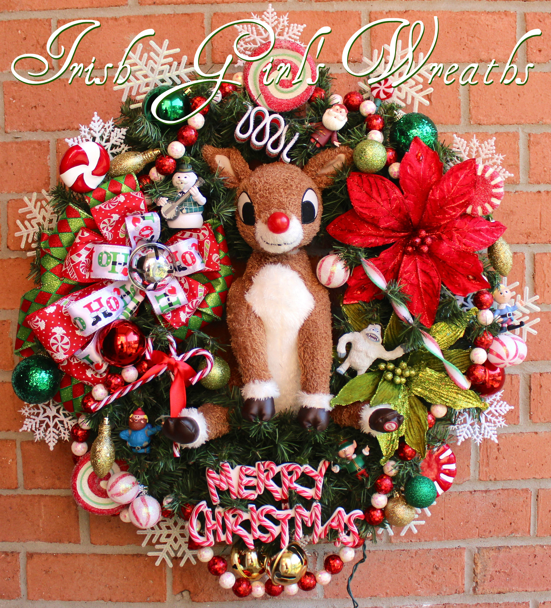 Deluxe Rudolph the Red-Nosed Reindeer Island of Misfit Toys Wreath, Custom for Joan