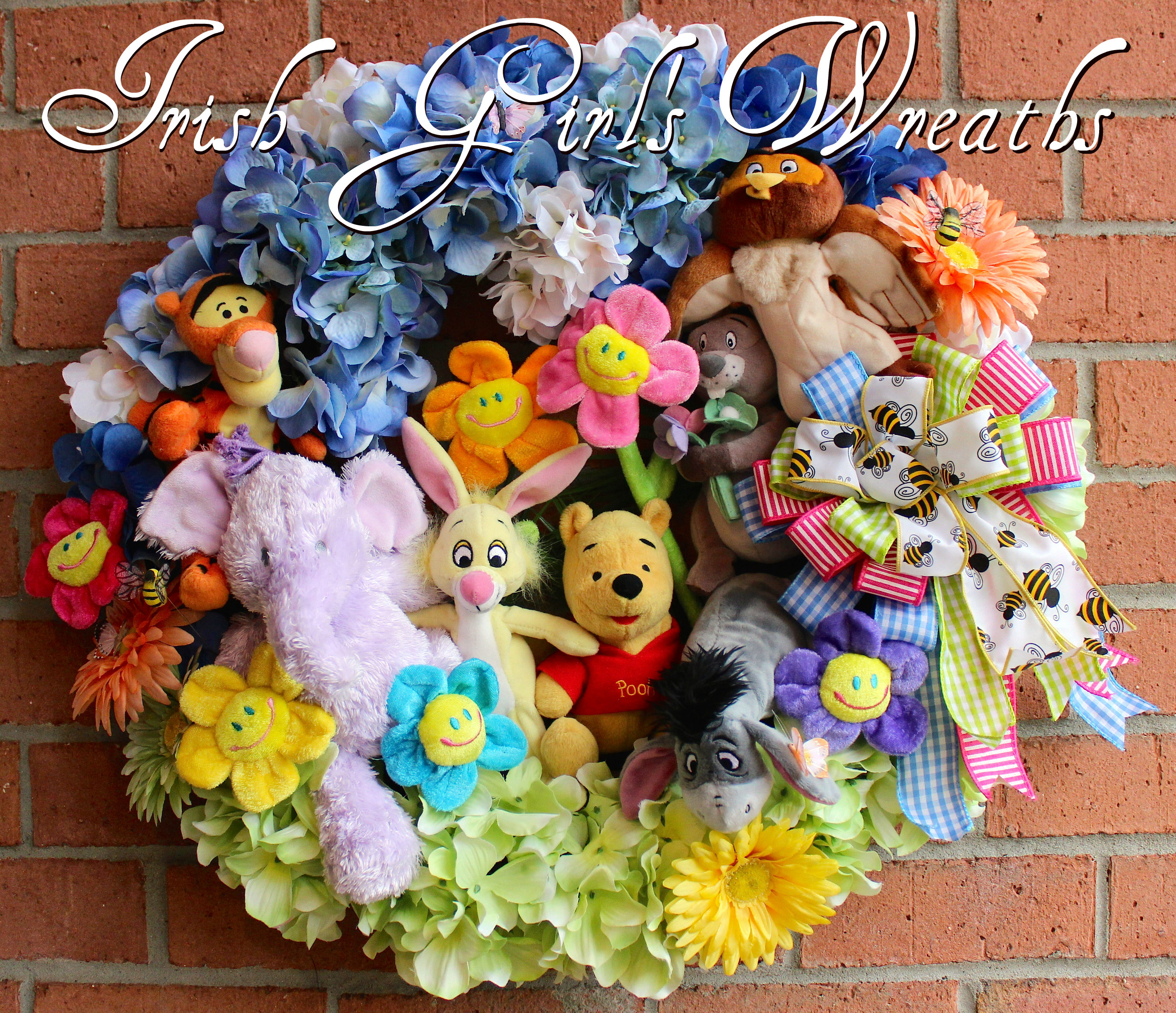 Winnie the Pooh and Friends Wreath, Custom for Joan