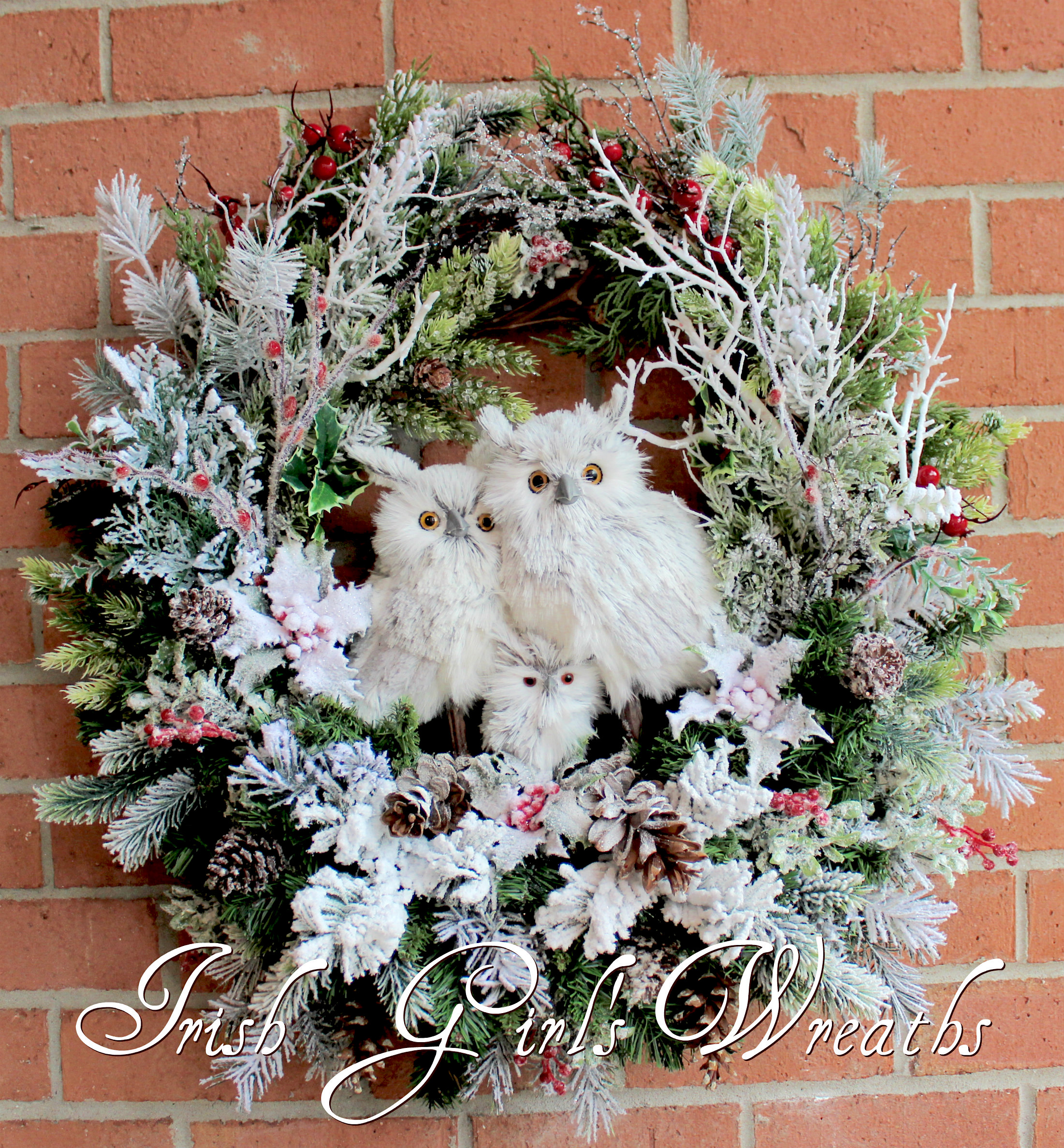 Winter Owl Family Wreath, custom for Judy!