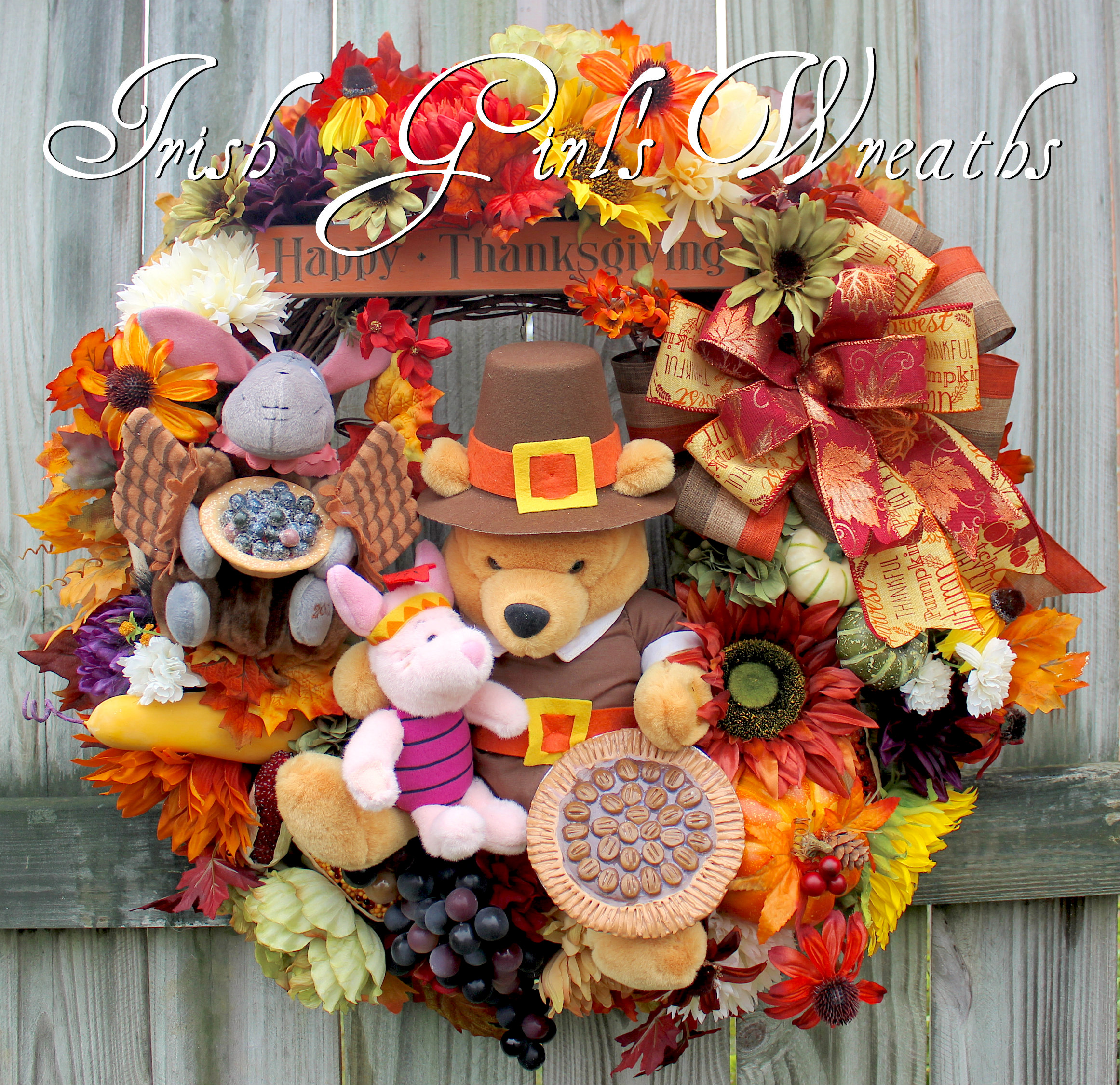 Winnie the Pooh and Friends Thanksgiving Wreath, Custom Order