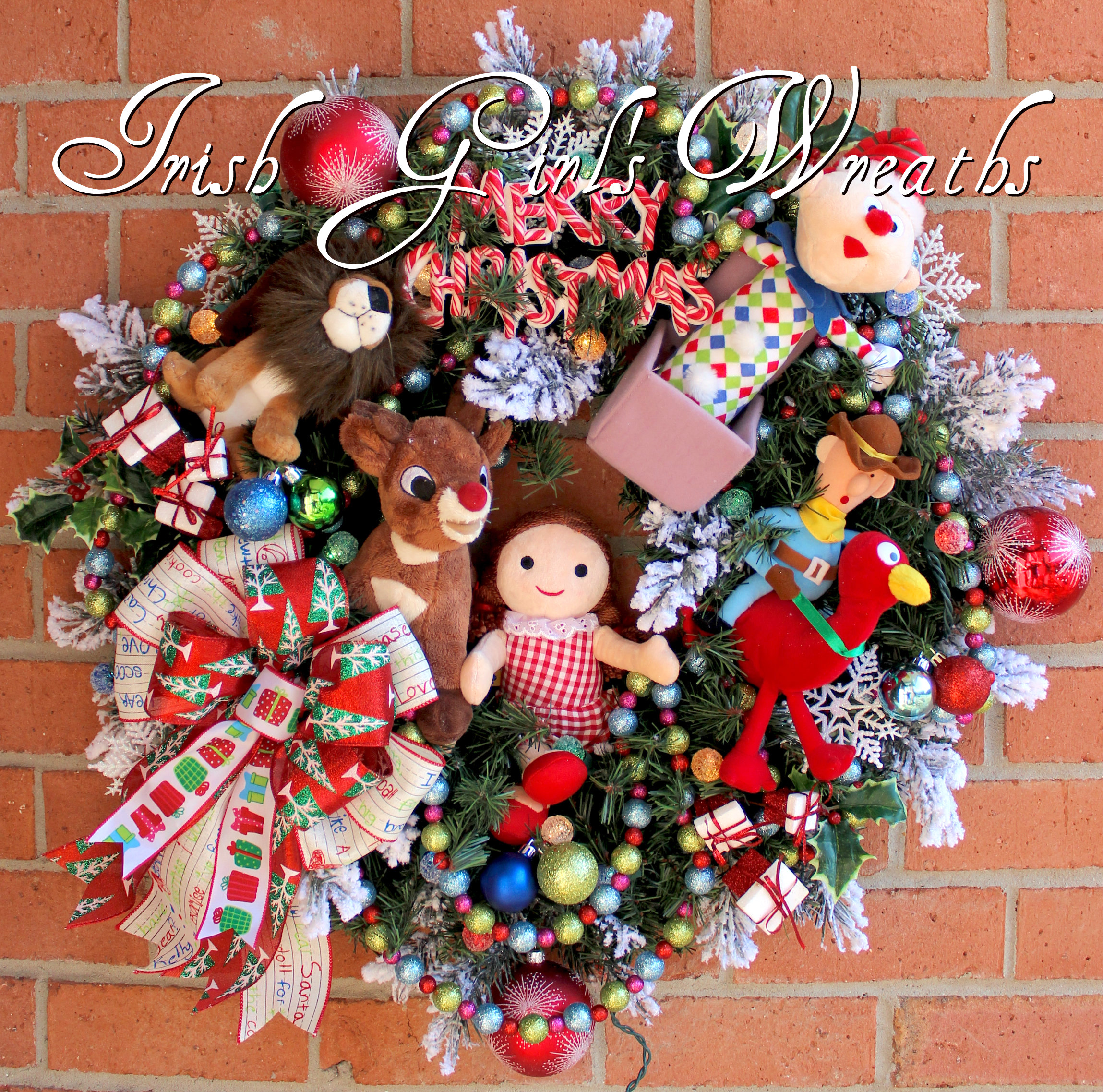 Colorful Deluxe Island of Misfit Toys Christmas Wreath, custom for Karen