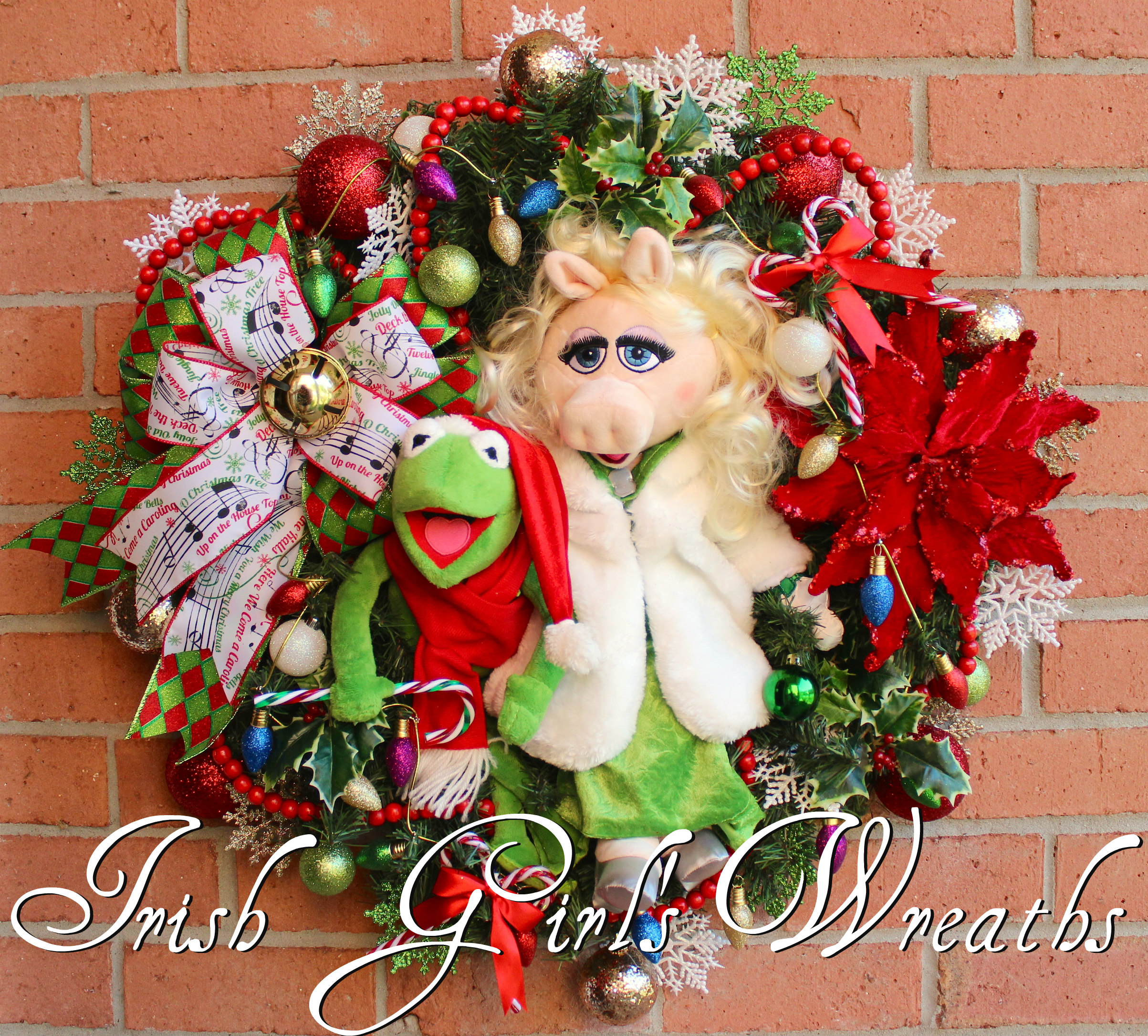Kermit and Miss Piggy Christmas Wreath, Muppet Christmas Wreath, Custom for Lilly
