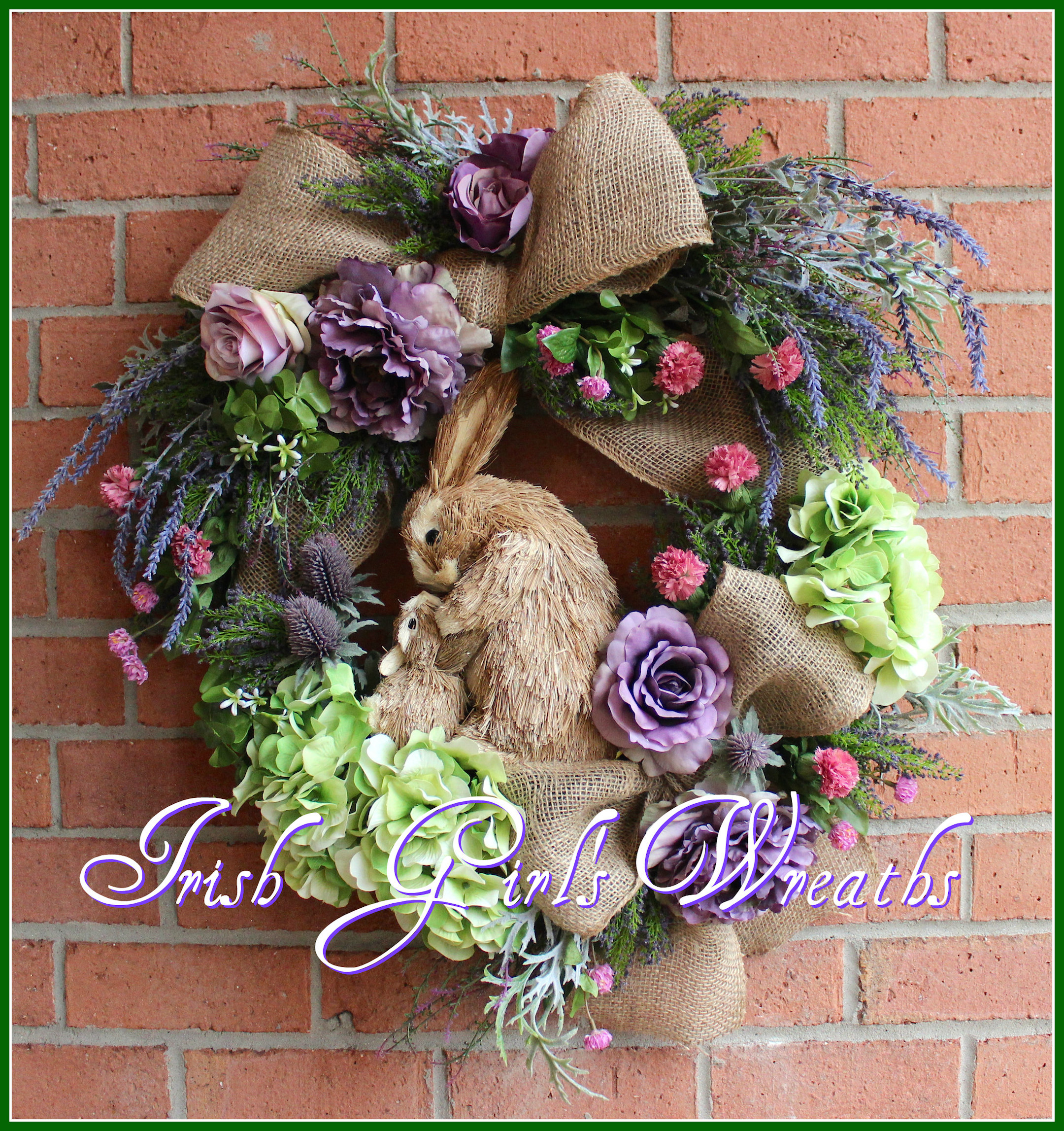 Lavender Spring Mother & Baby Bunny Rabbit Wreath, nursery, Mother's Day