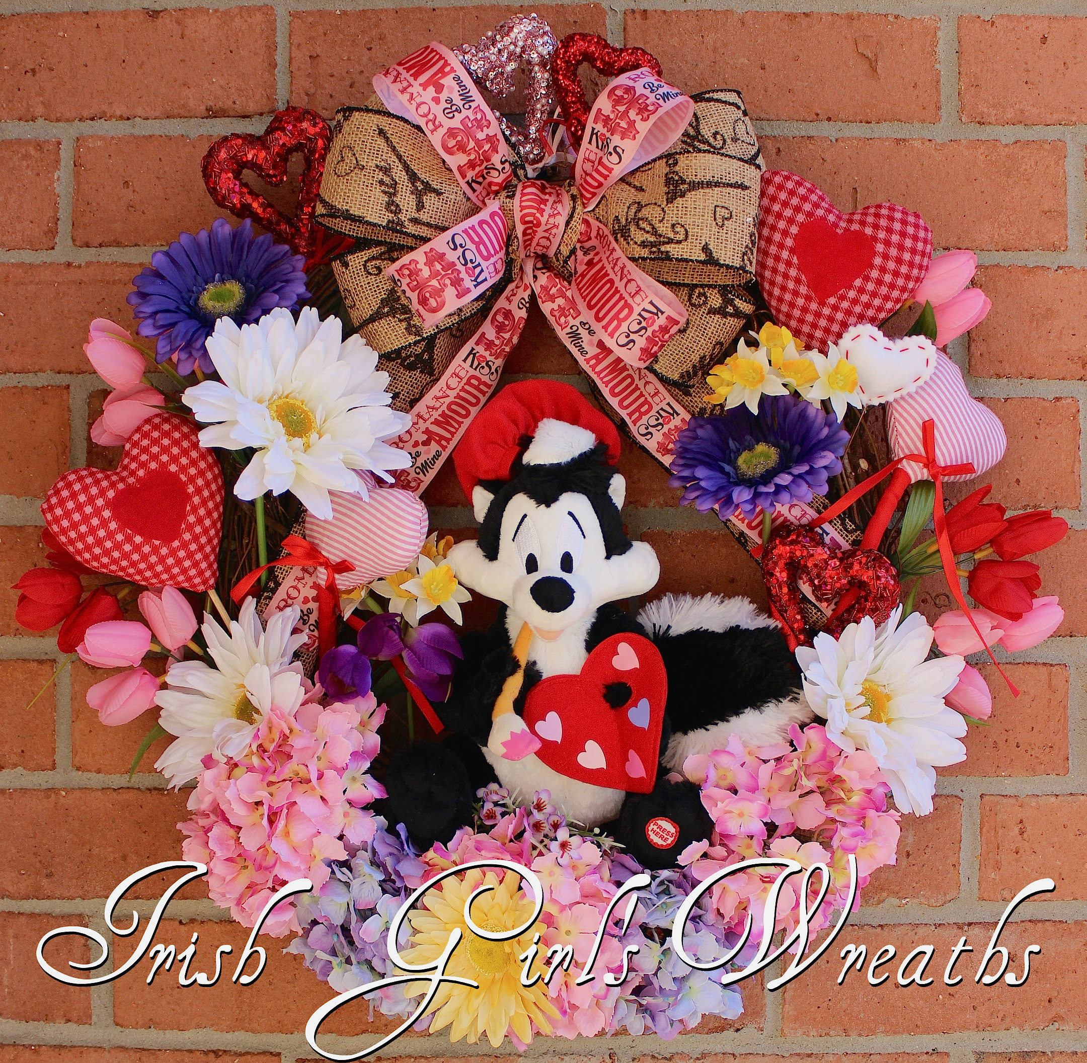 Lavender and Pink Artiste Pepe le Pew Valentines Wreath