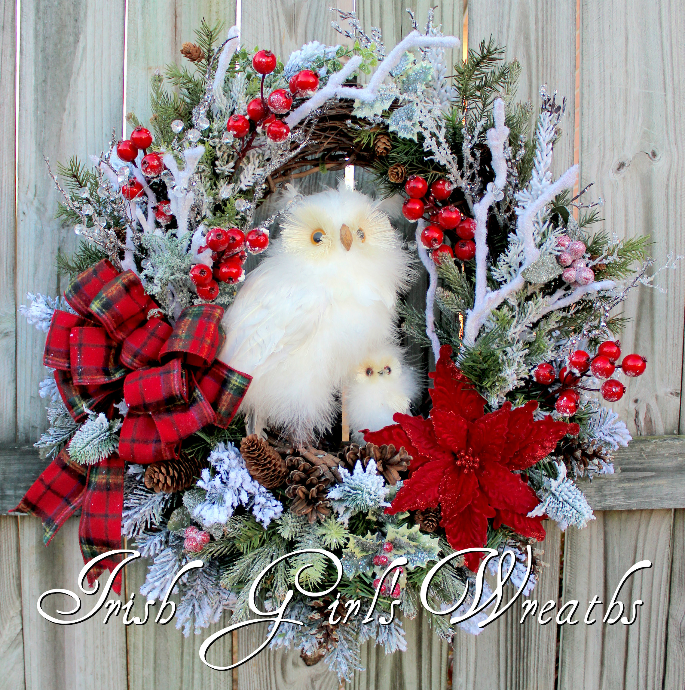 Snowy Owl and Baby Red Christmas Flannel Plaid Winter Wreath, Custom for Leah