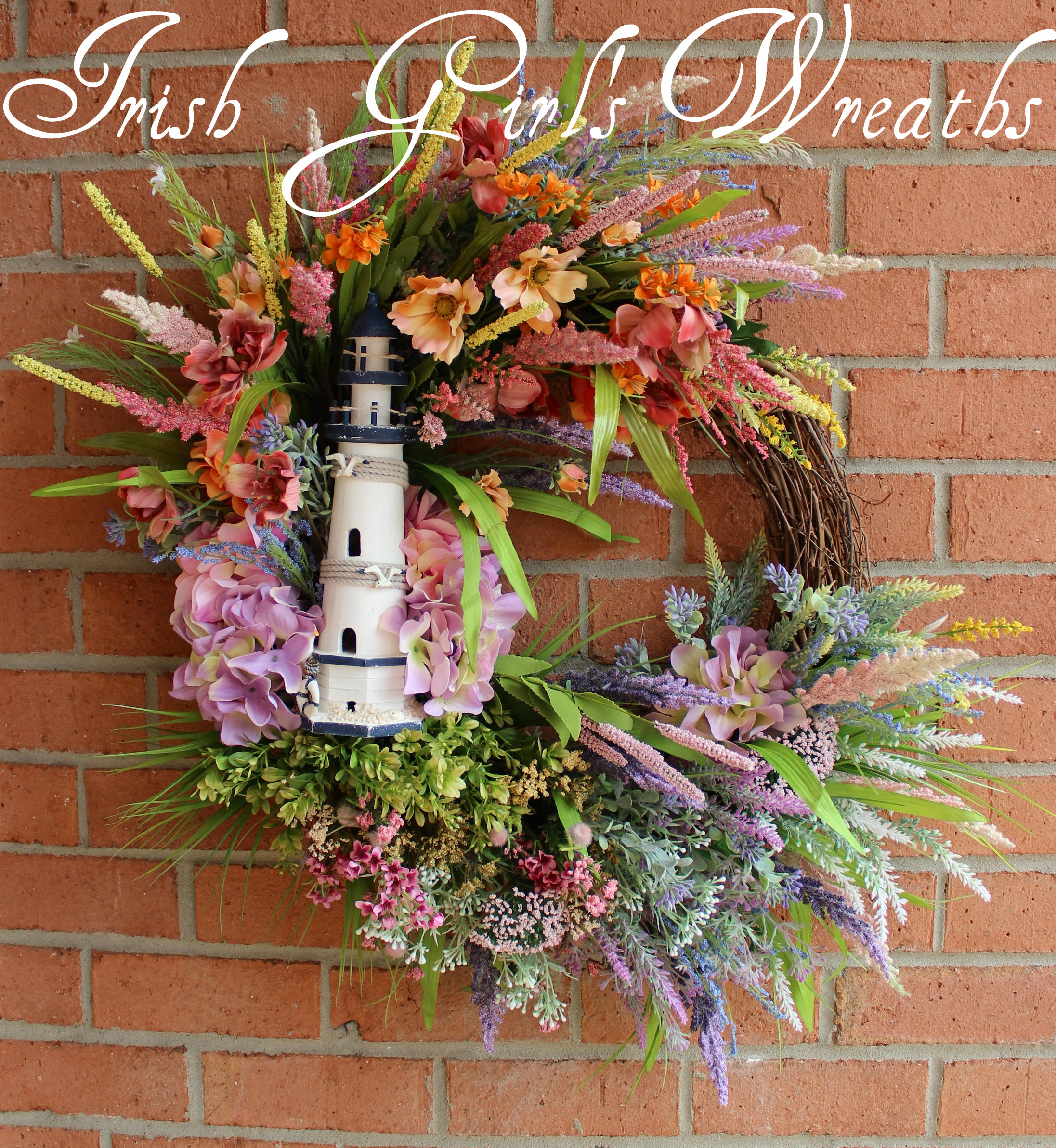 Lighthouse Coastal Sunset Wreath