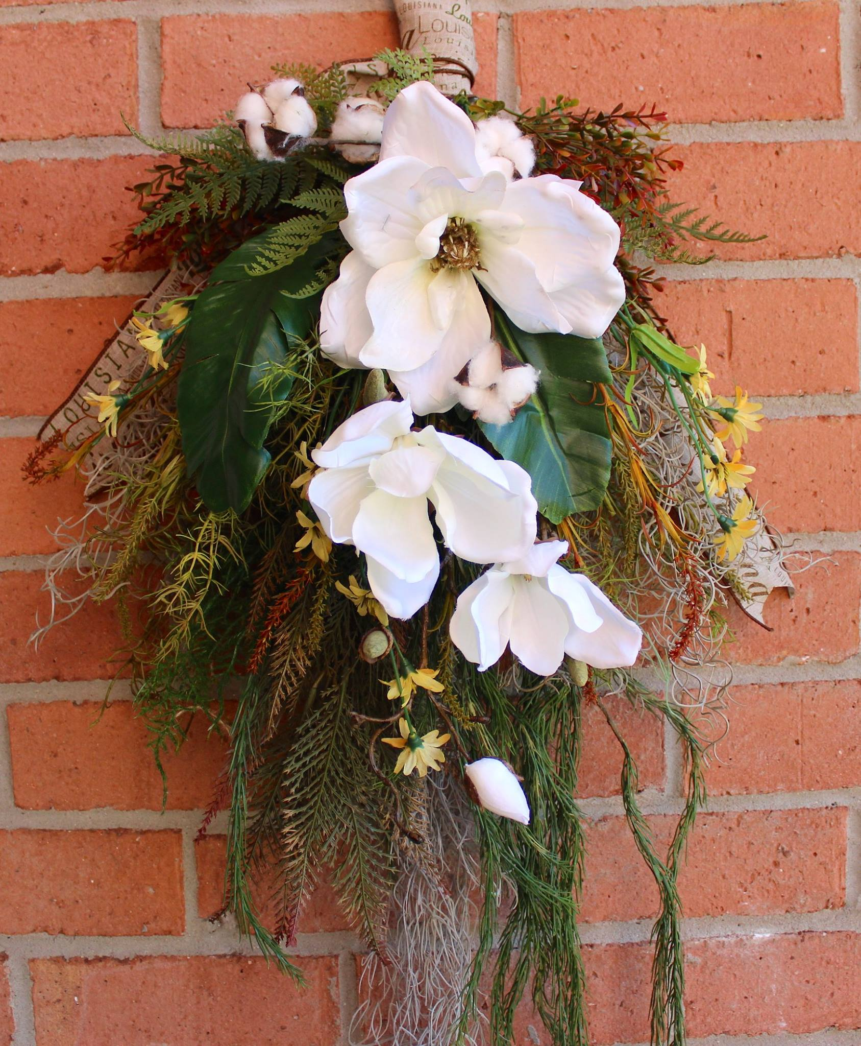 Louisiana Bayou Magnolia Floral Swag Wreath