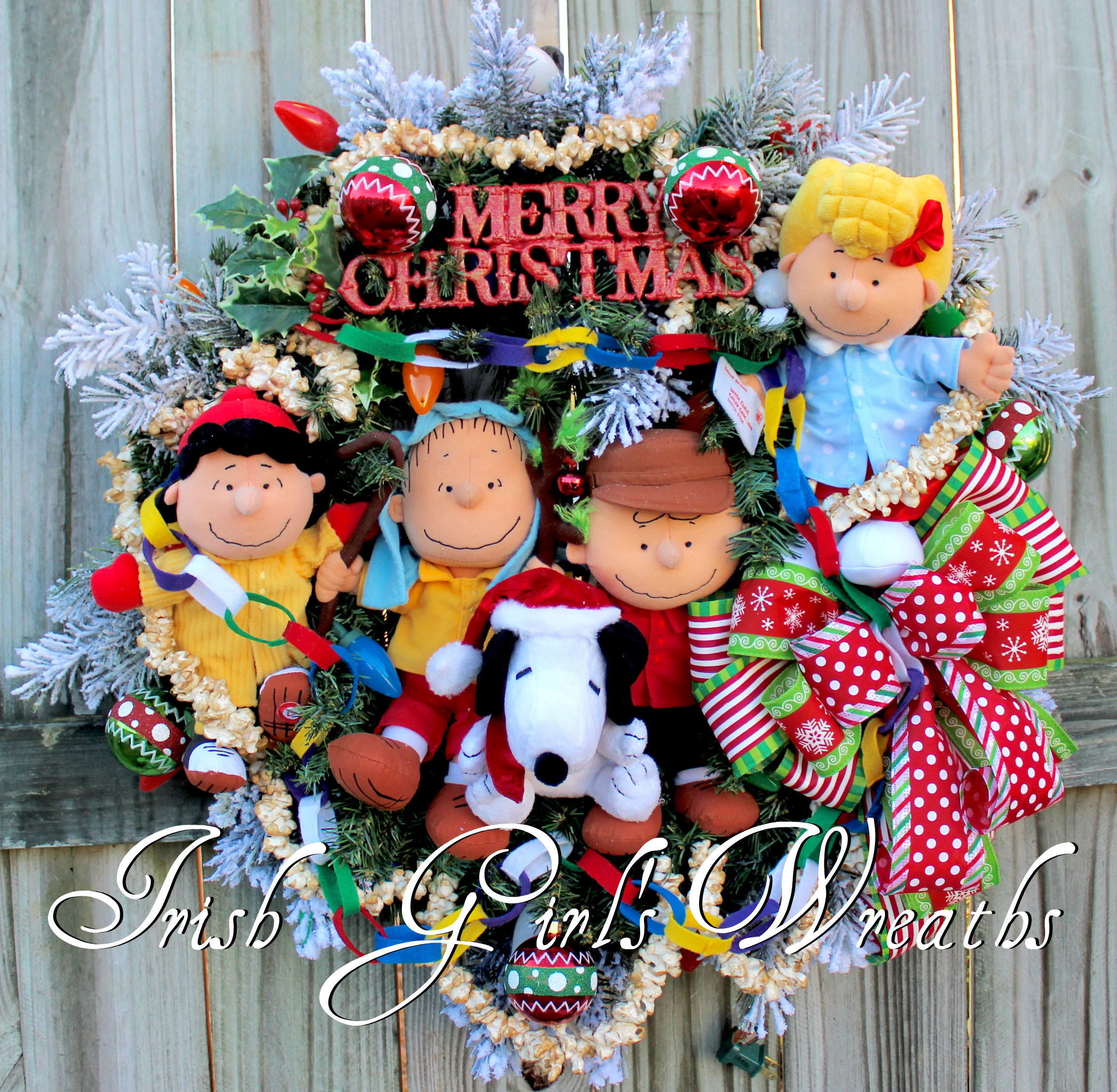 Deluxe Charlie Brown Peanuts Gang Christmas Wreath with lights – featuring Shepherd Linus, Lucy, Snoopy, Sally – Custom for Maribeth