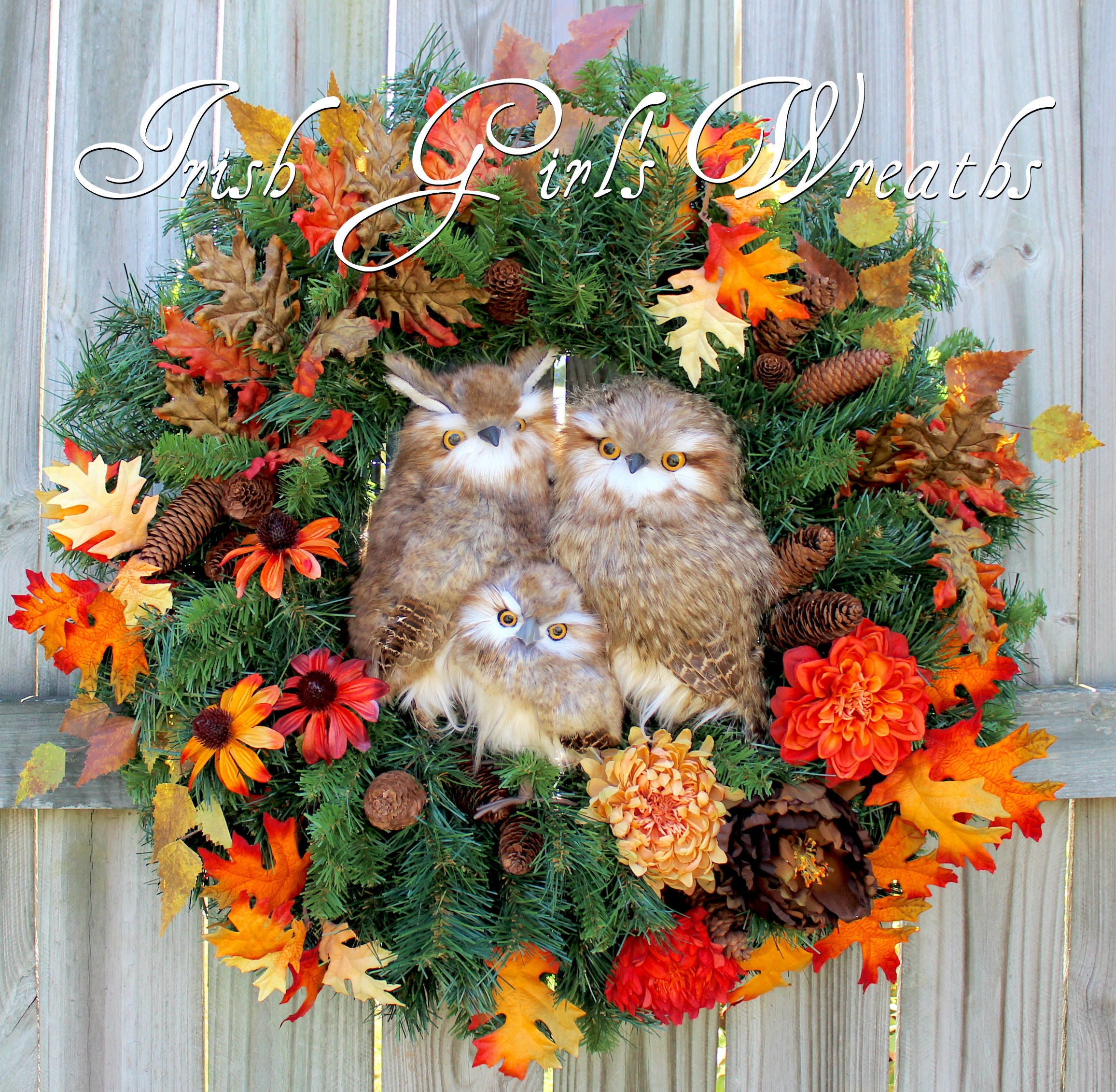 XL Lush Rustic Owl Family Fall Woodland Floral Wreath