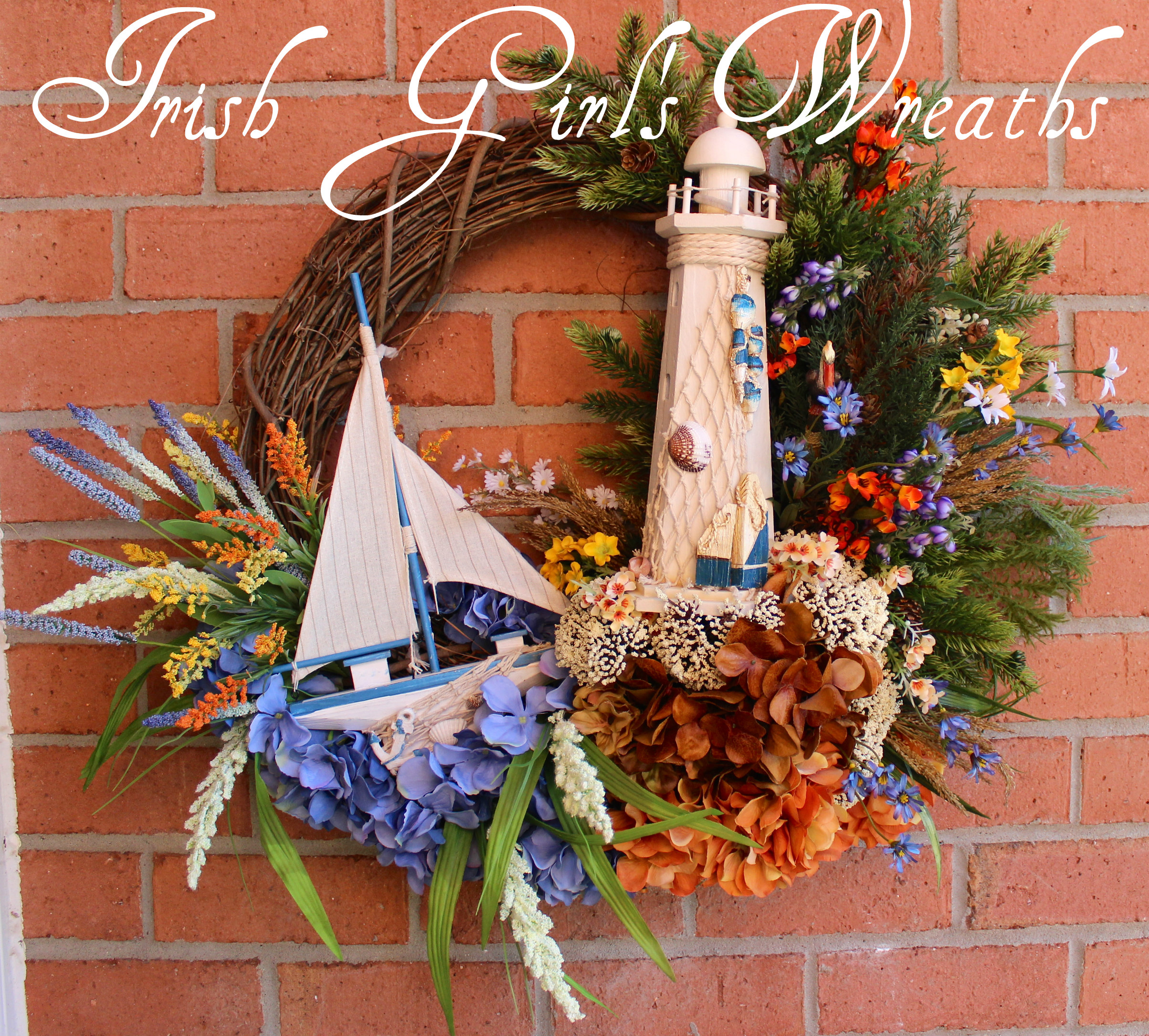 New England Lighthouse and Sailboat Wreath