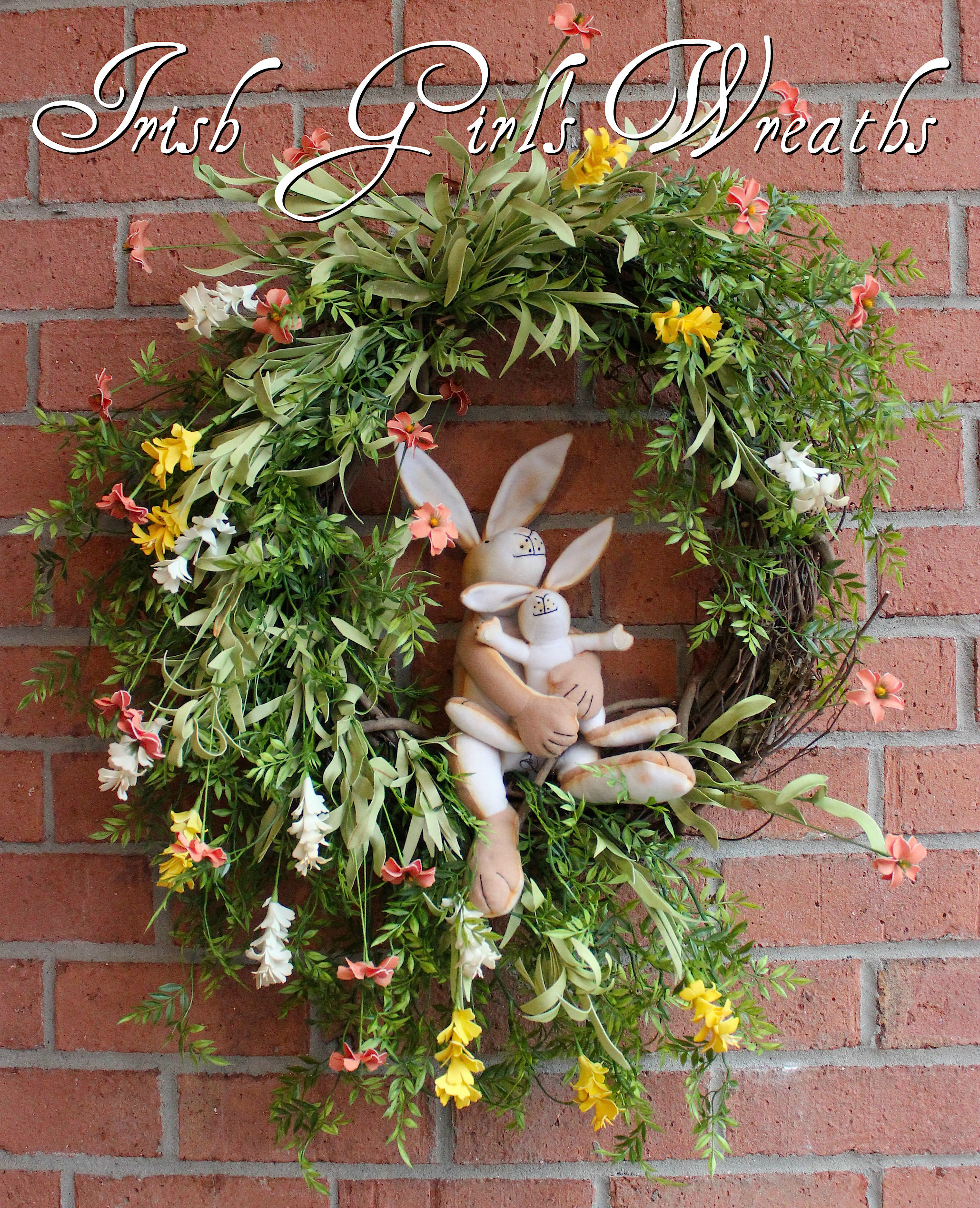 Guess How Much I Love You Bunnies Wreath, Custom for Mary
