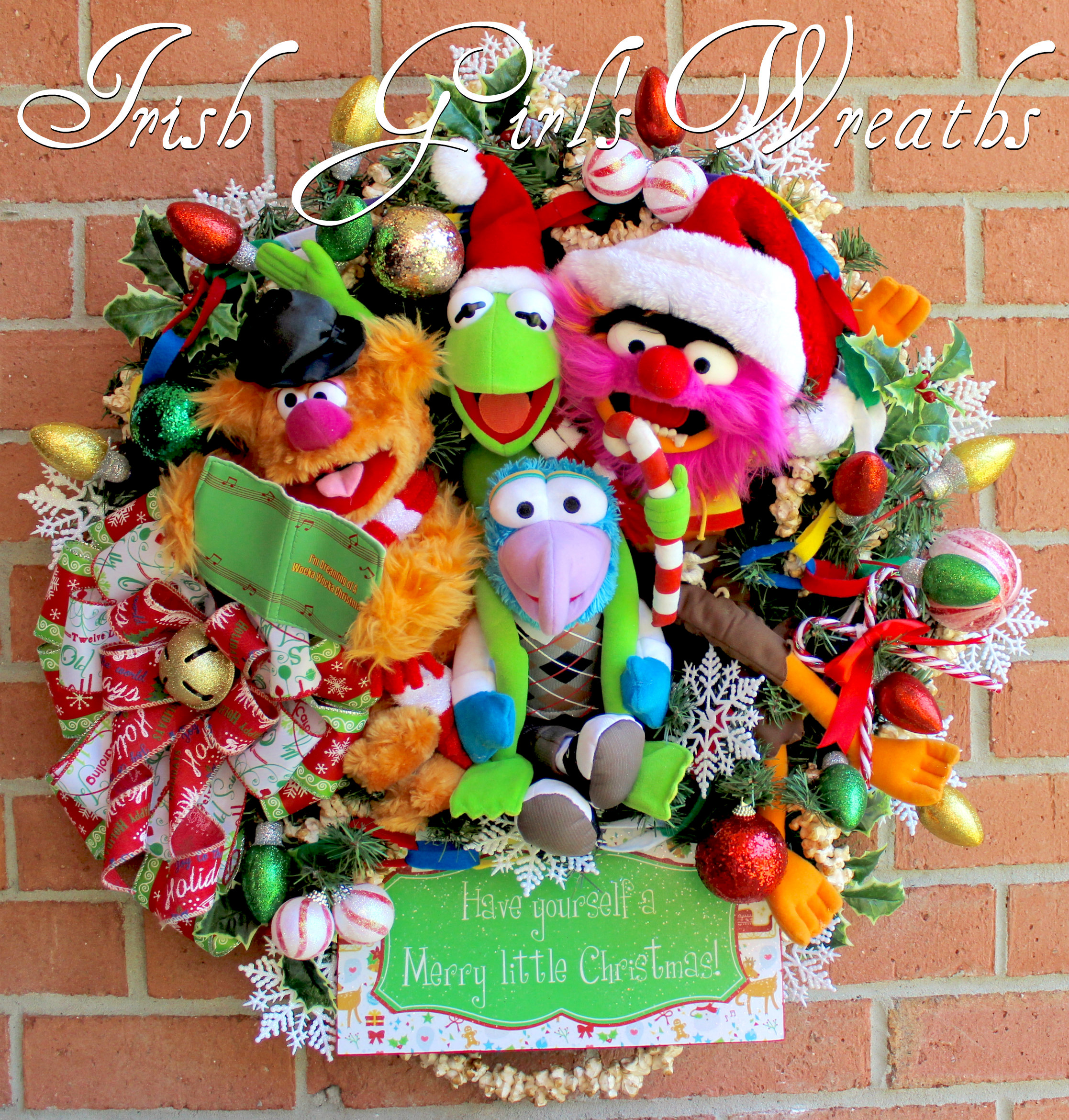 Deluxe Muppets Merry Little Christmas Wreath, Fozzie Bear, Kermit the Frog, Animal, Gonzo