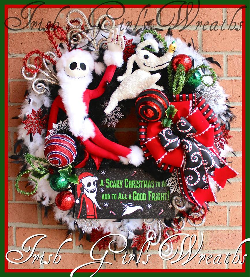 Sandy Claws Jack Skellington and Zero Nightmare Before Christmas Xmas Wreath