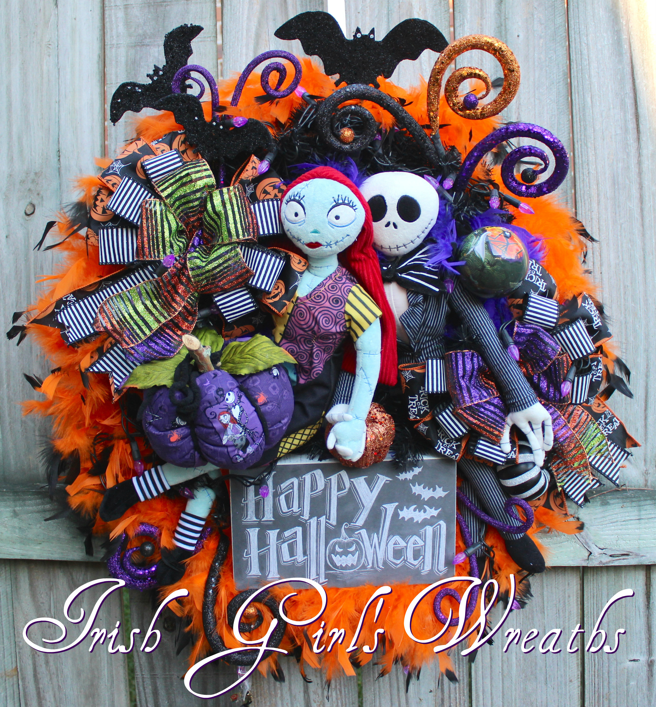 Nightmare Before Christmas Wreath, Pumpkin King Wreath, Pre-lit purple lights