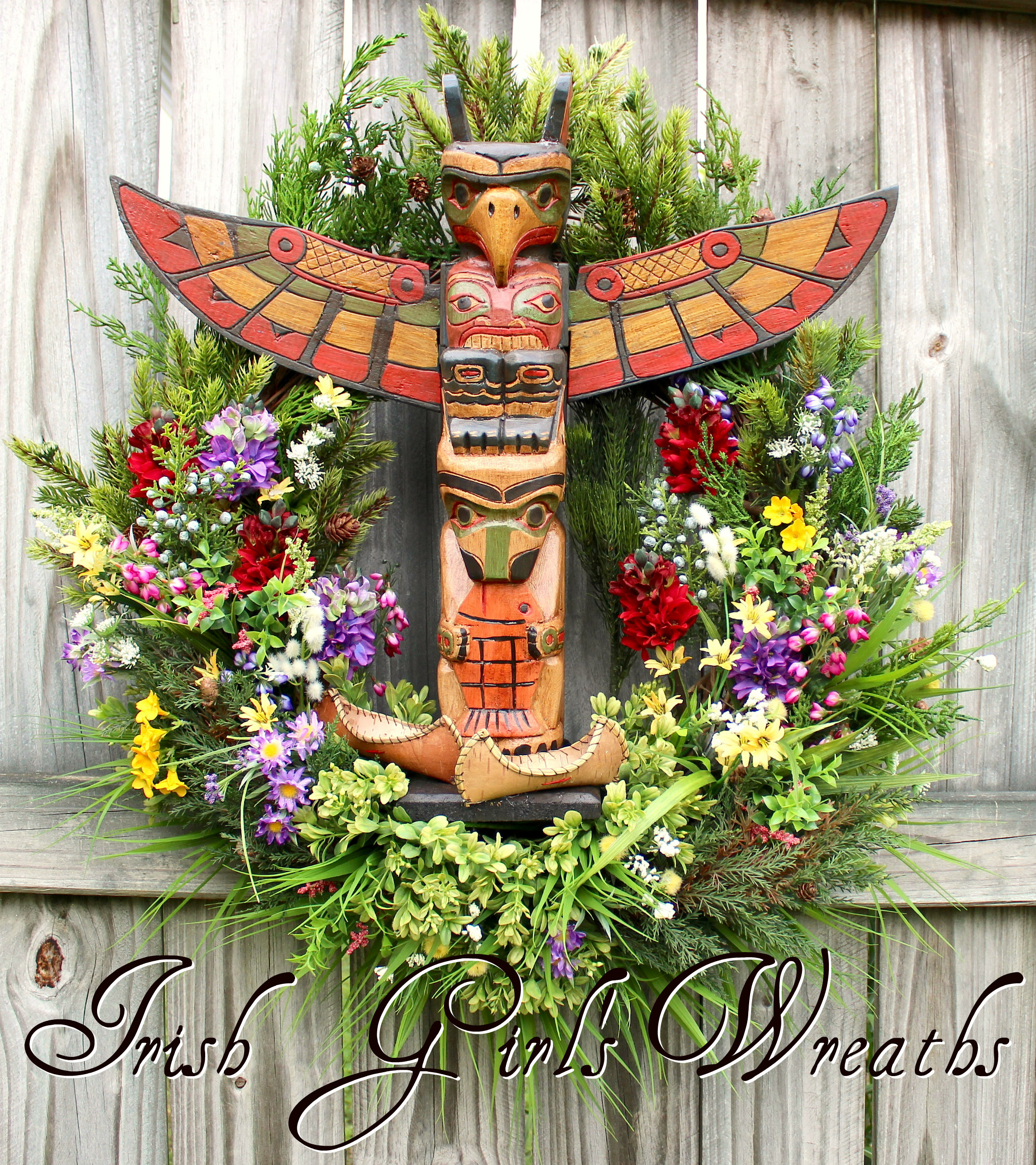 Pacific Totem Pole Wildflower Wreath, Northwest Tribal Wilderness Wreath