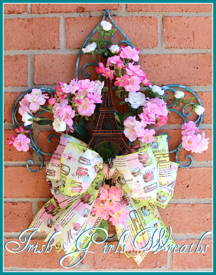Paris Wreath, Paris in Spring Floral Wall Hanging, Cherry Blossom Wreath, Fleur De Lis Turquoise Wrought Iron