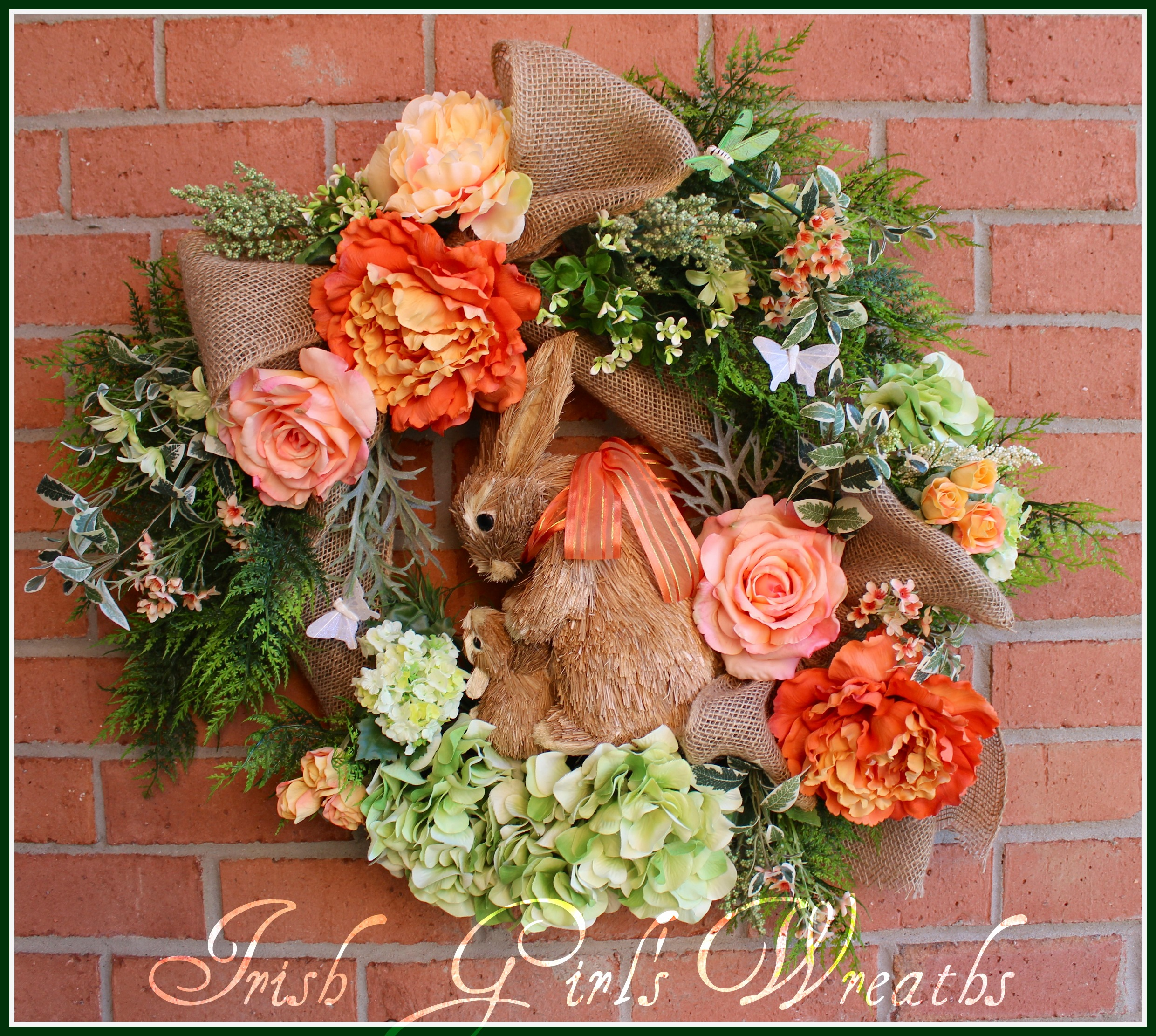 Coral Hugging Bunnies Spring Wreath, Mom and Baby Bunny Rabbits Wreath,