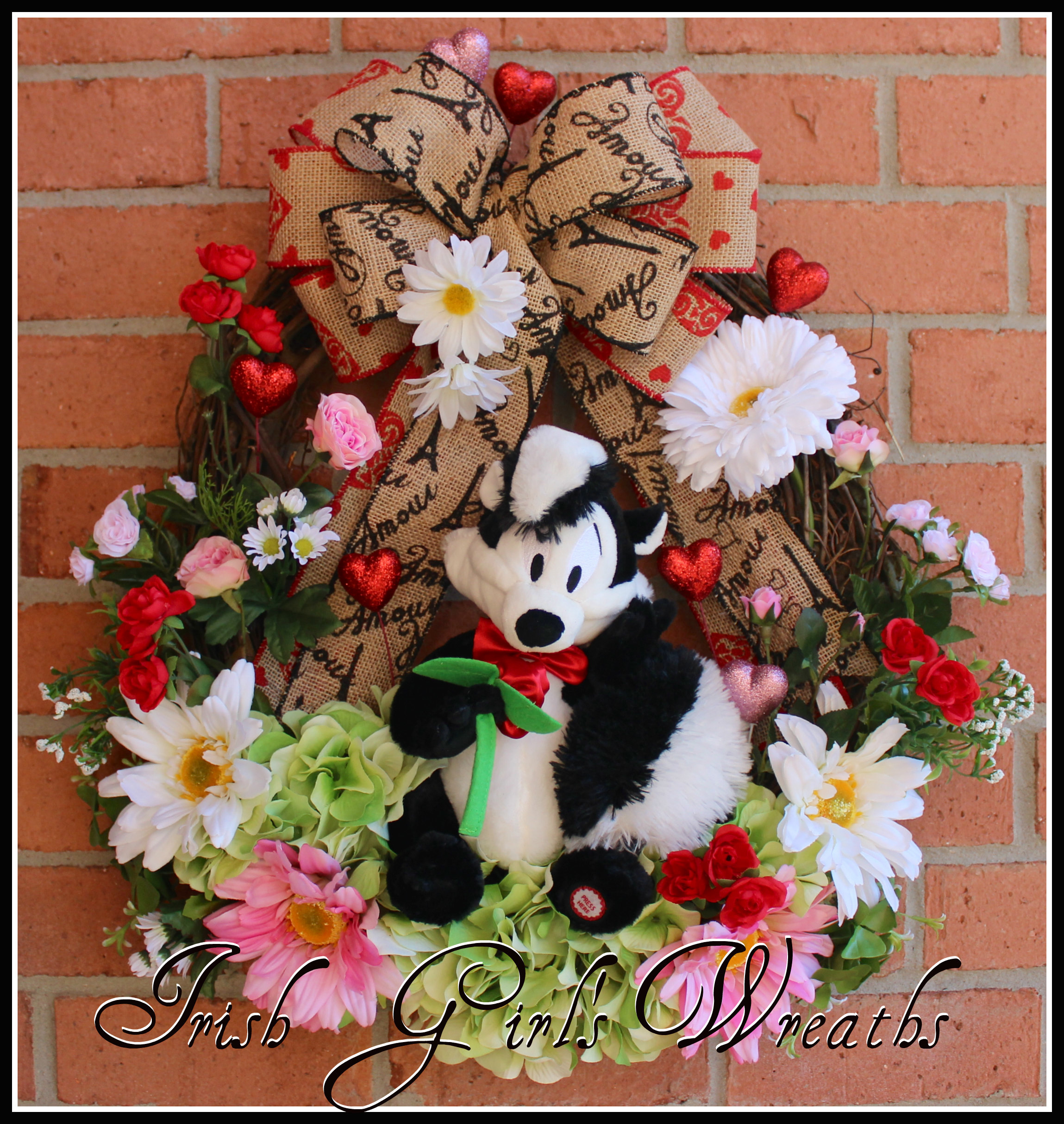 Pepe Le Pew Spring Rose Valentine Wreath for Lisa