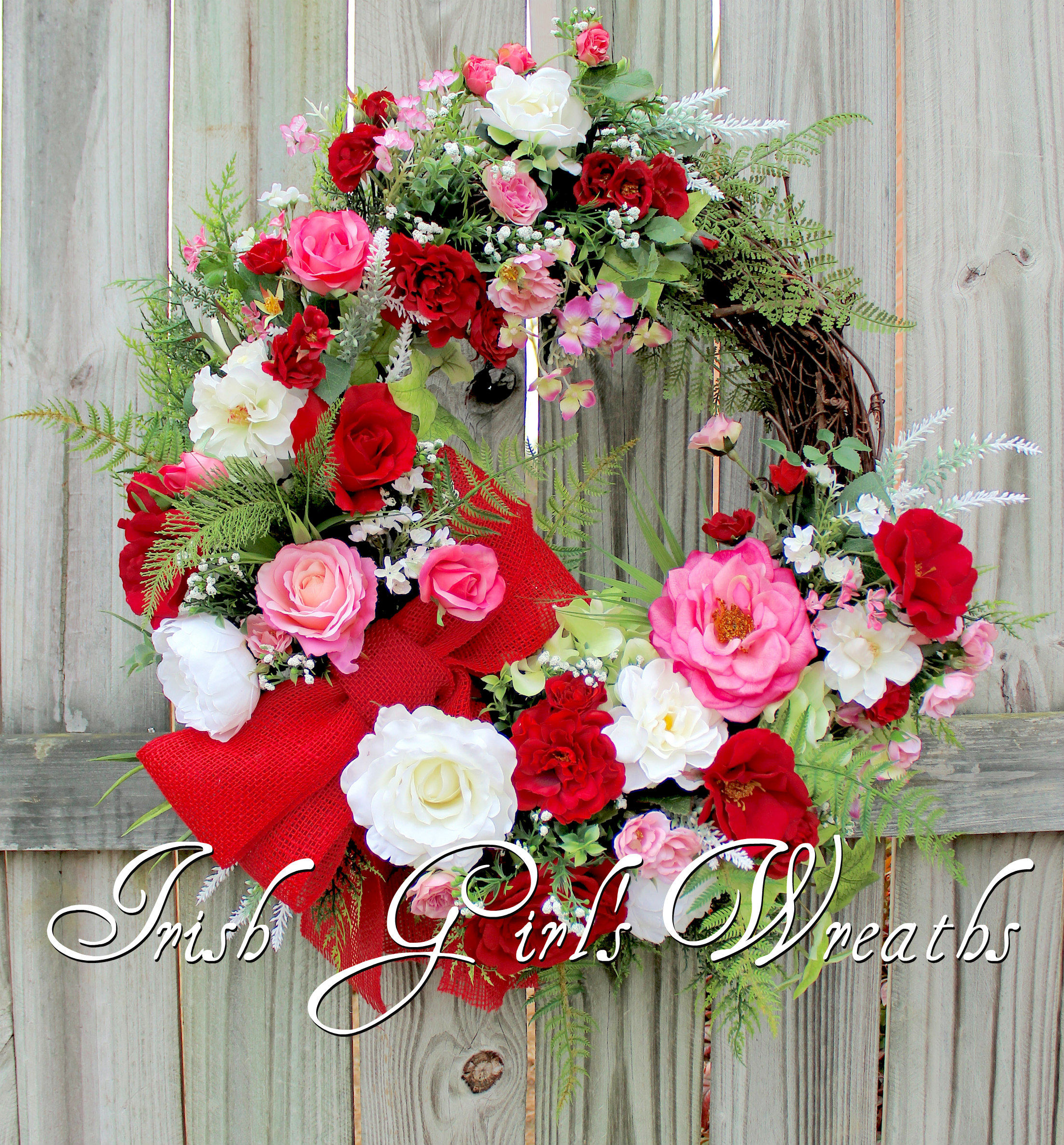 Pink and Red Valentine Rose Cottage Garden Wreath, Deluxe Spring Cottage Wreath