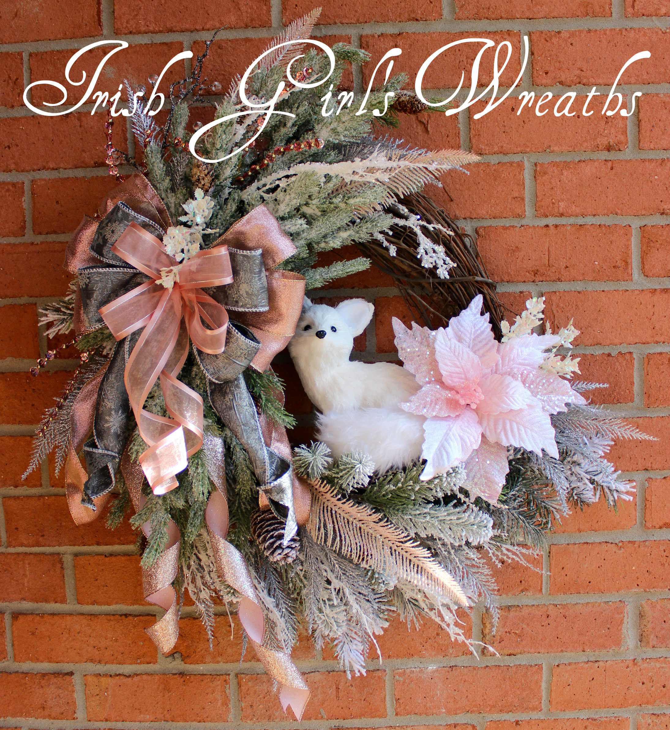Pink Woodland Winter Arctic Fox Wreath , Snowy Rustic Fox Floral Christmas Wreath