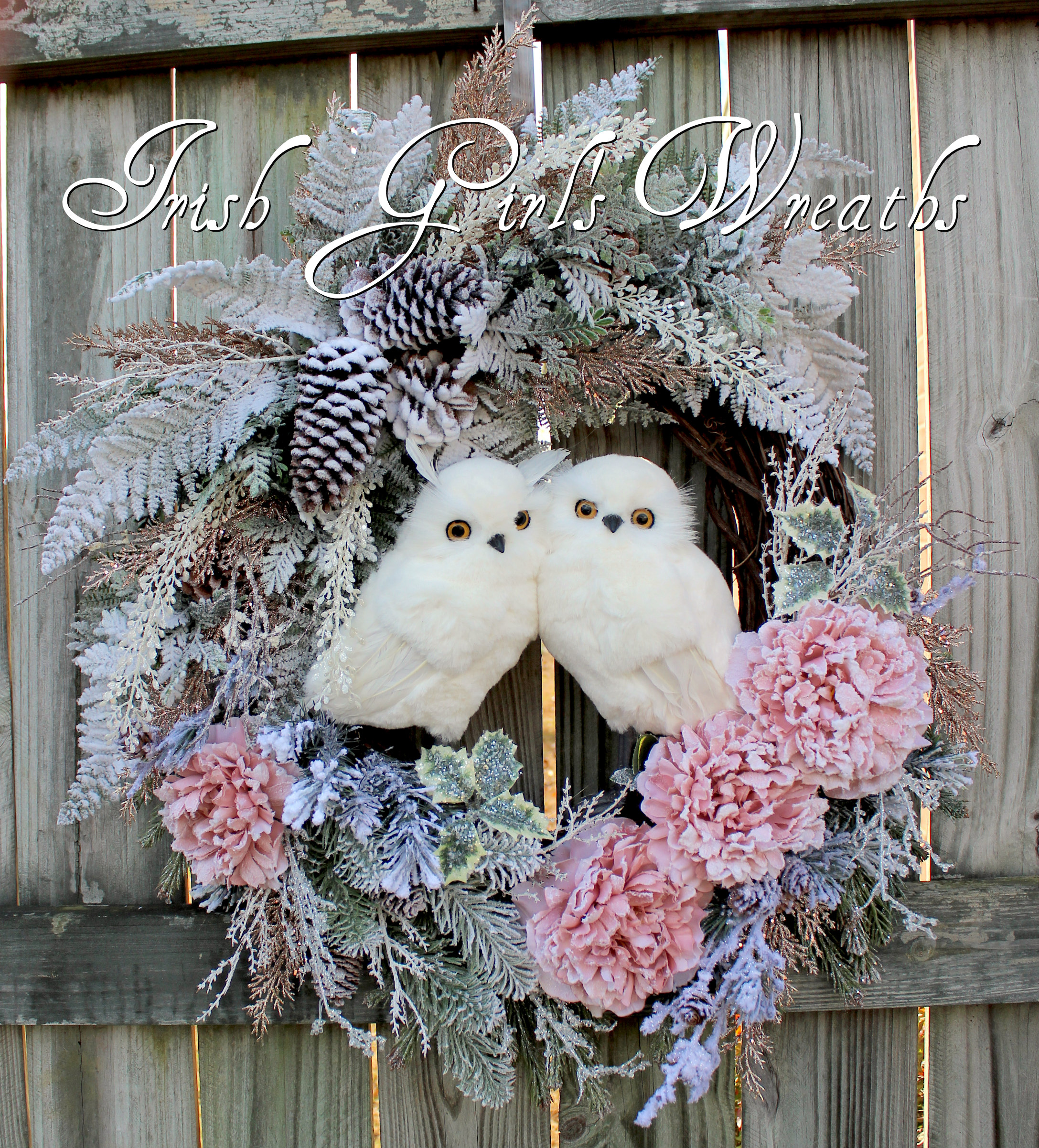 Pink Woodland Winter Snowy Owl Valentines Couple Wreath, Rustic Wreath, Owl Christmas floral Wreath