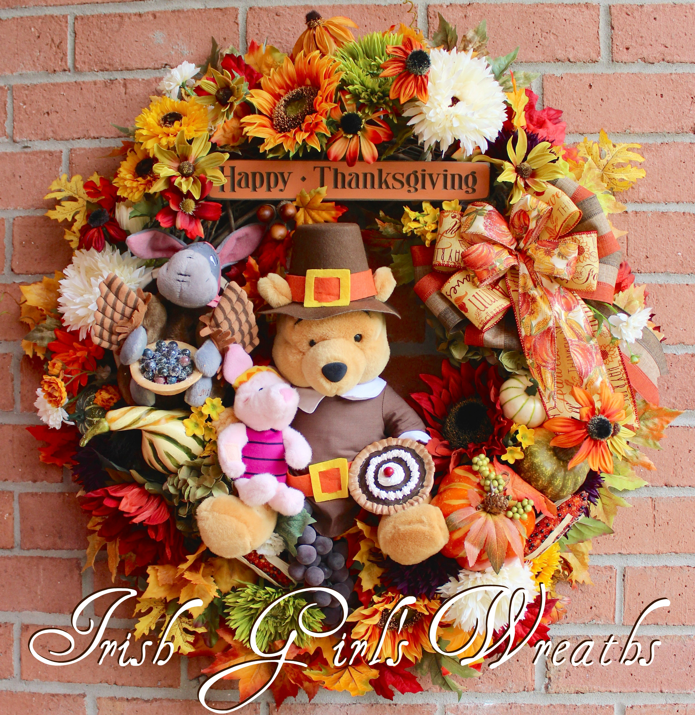 Winnie the Pooh and Friends Thanksgiving Harvest Wreath, Piglet, Eeyore, Pilgrim, Sunflower, Fall floral