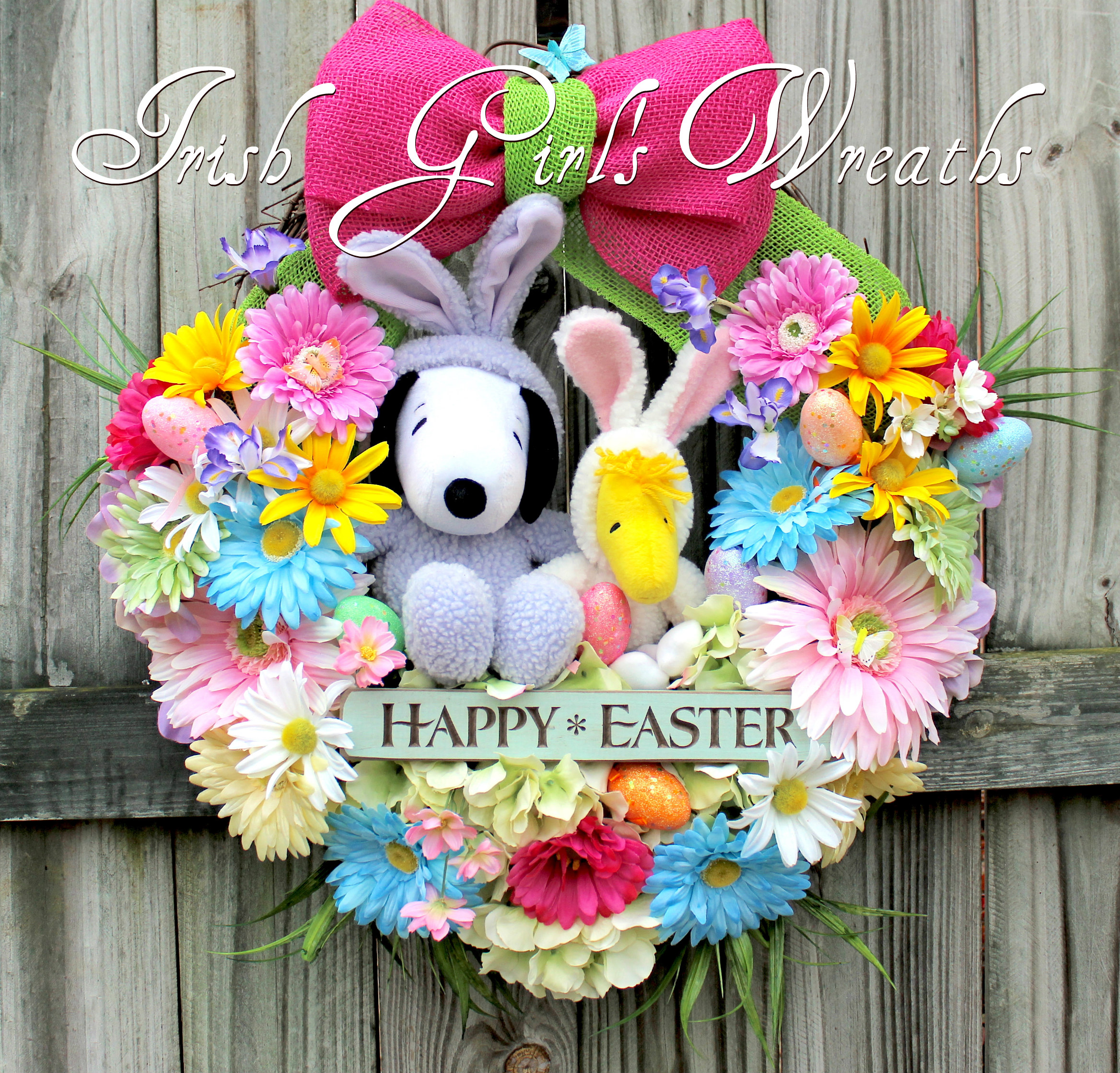 Peanuts Easter Beagle Snoopy and Woodstock Easter Wreath, Purple Bunny Snoopy, custom for Vicki