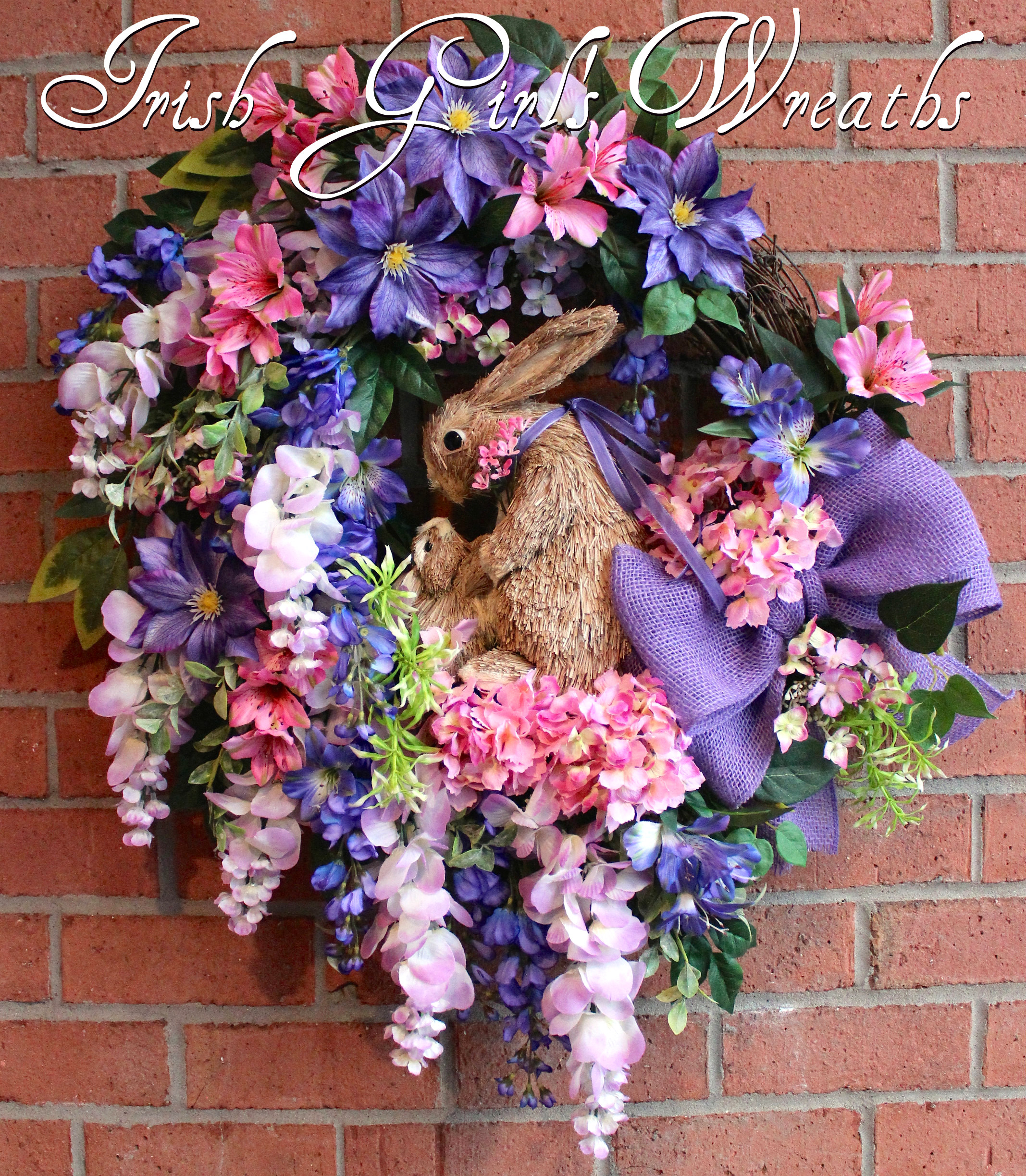 Purple and Lavender Wisteria Spring Bunnies Wreath