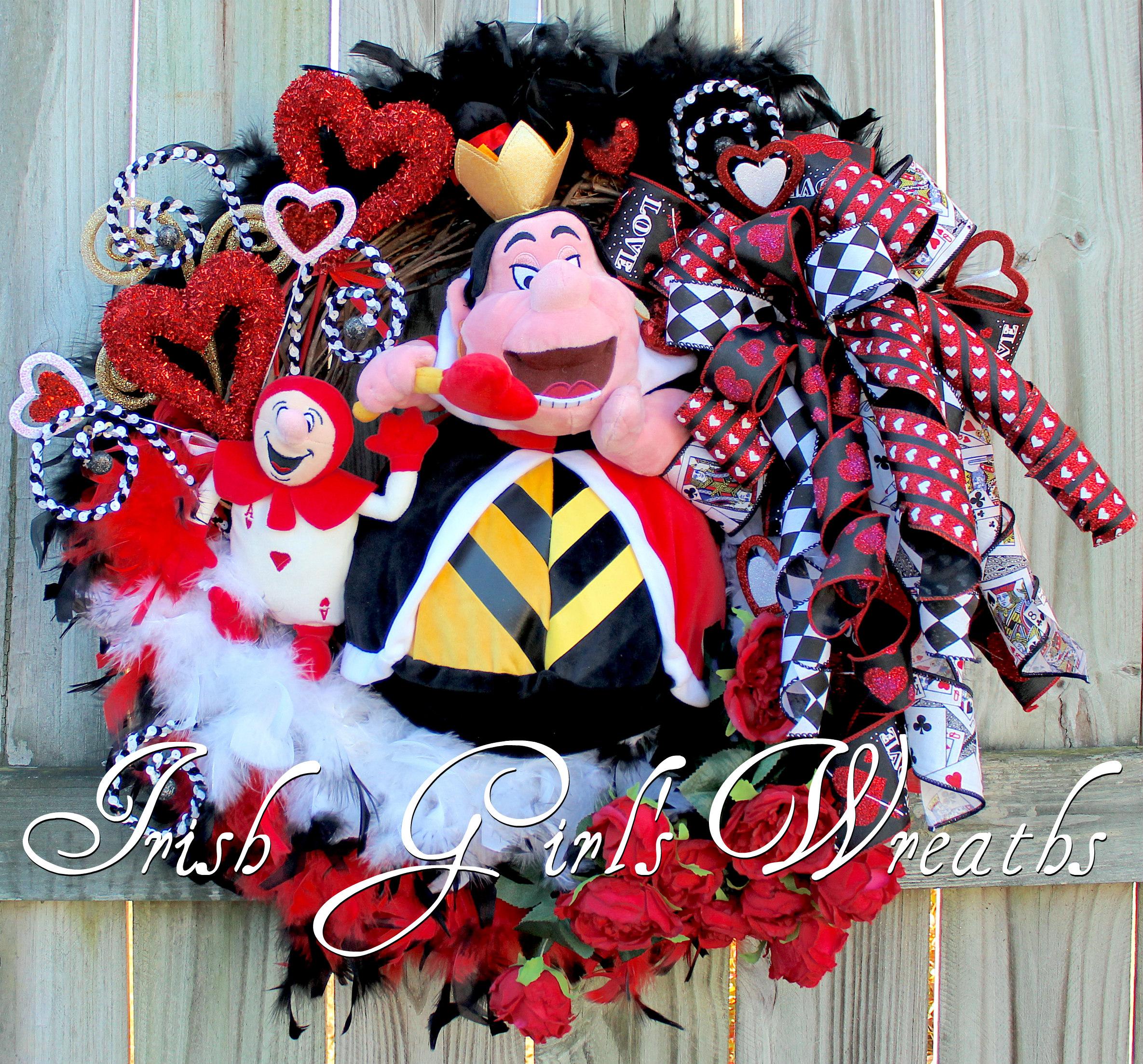 Queen of Heart Valentine's Day Wreath, Red Rose, Disney Valentine Wreath