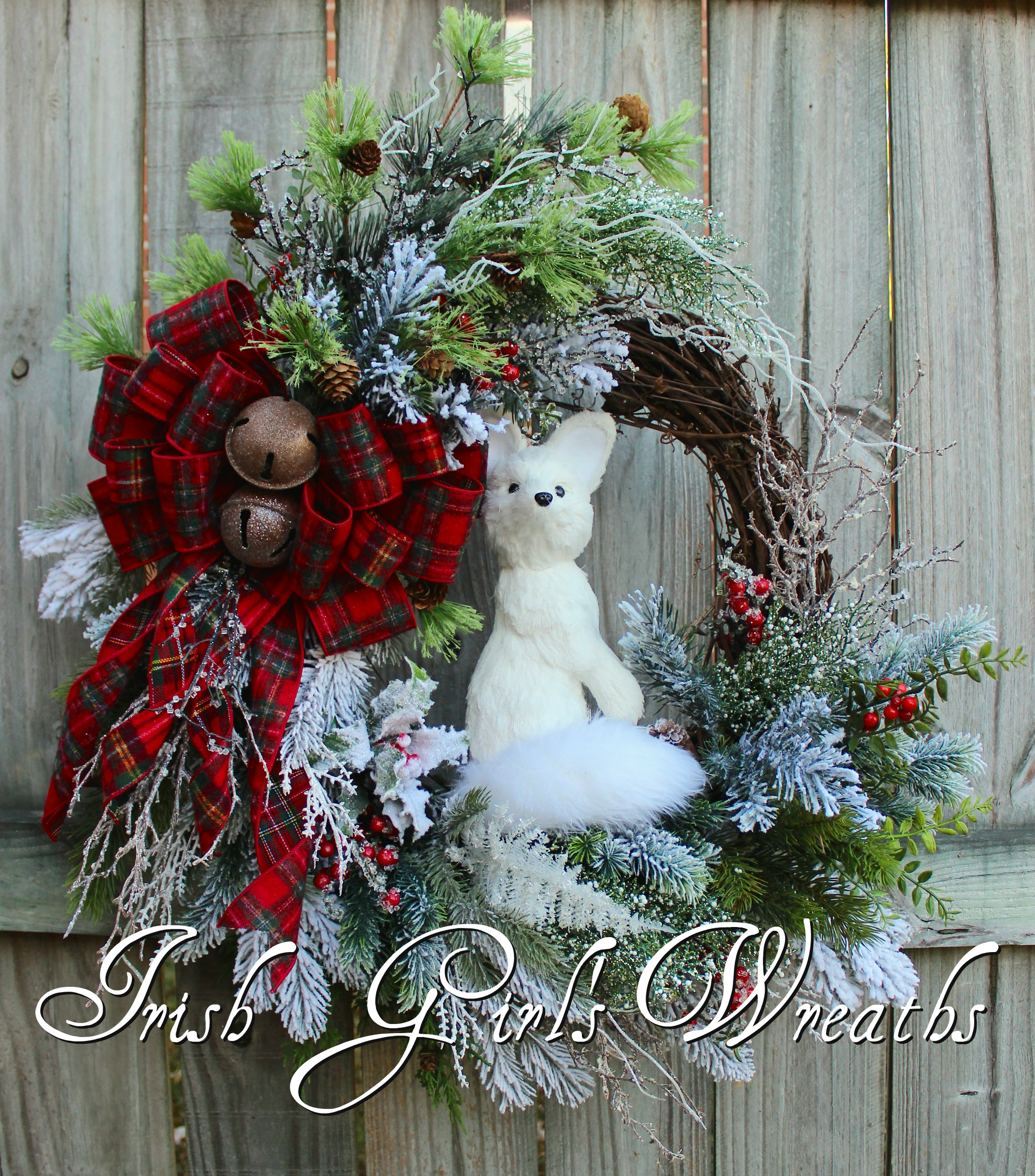 Woodland Winter Arctic Fox Wreath Red Flannel Tartan Plaid, Rustic Fox Floral Christmas Wreath