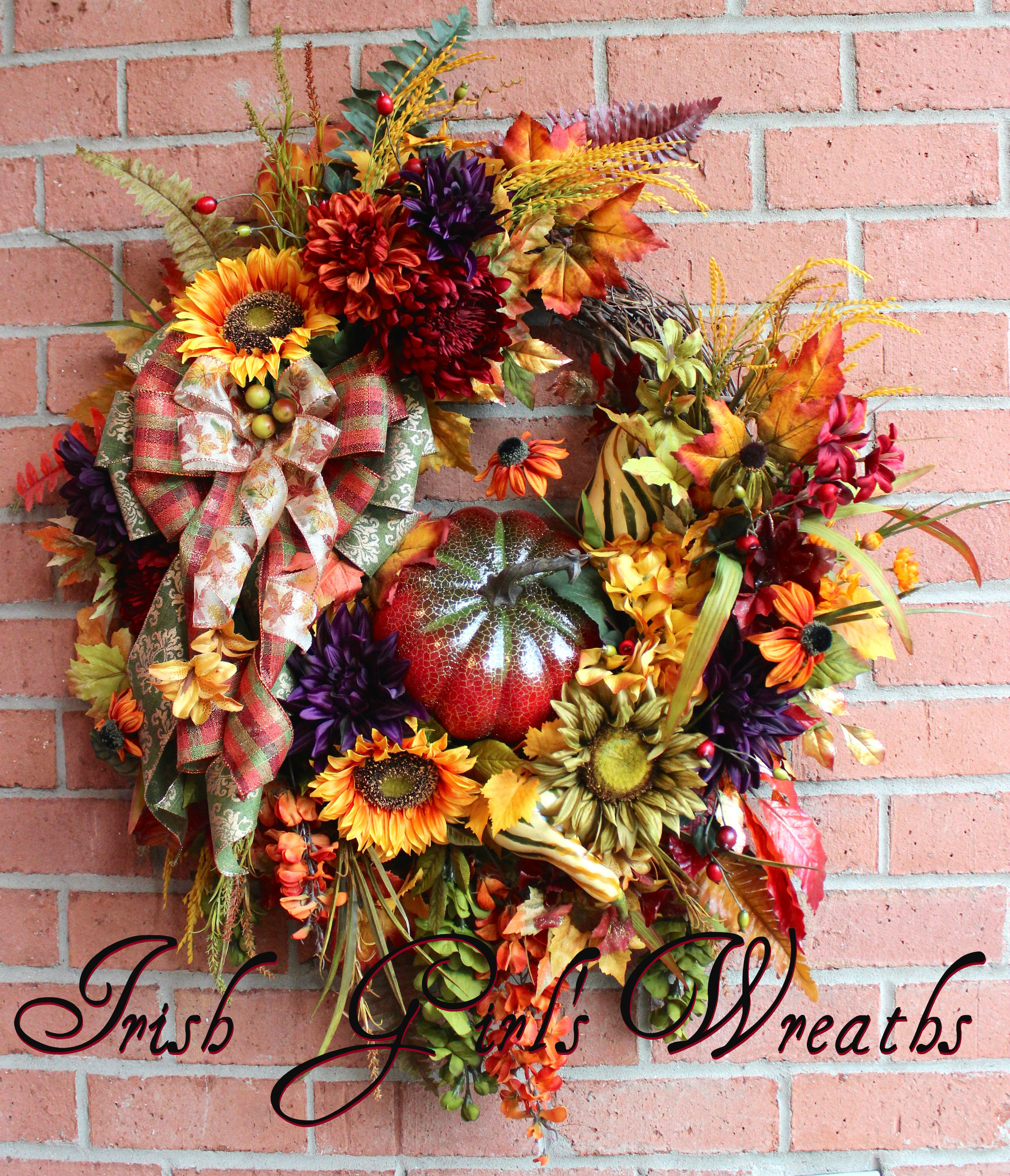 XL Deluxe Red Pumpkin Fall Extravaganza Wreath, Luxury Fall Wreath, Large, Red Pumpkin, Rust, Moss Green, Gold, Rustic, Eggplant Purple, Sunflower Wreath, gourd