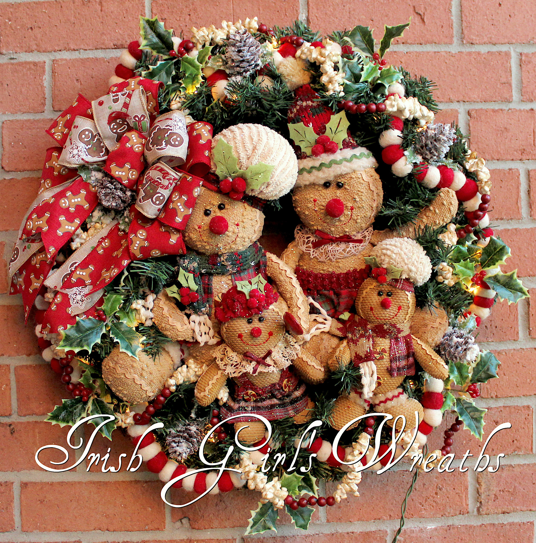 Gingerbread Family Rustic Christmas Wreath with lights