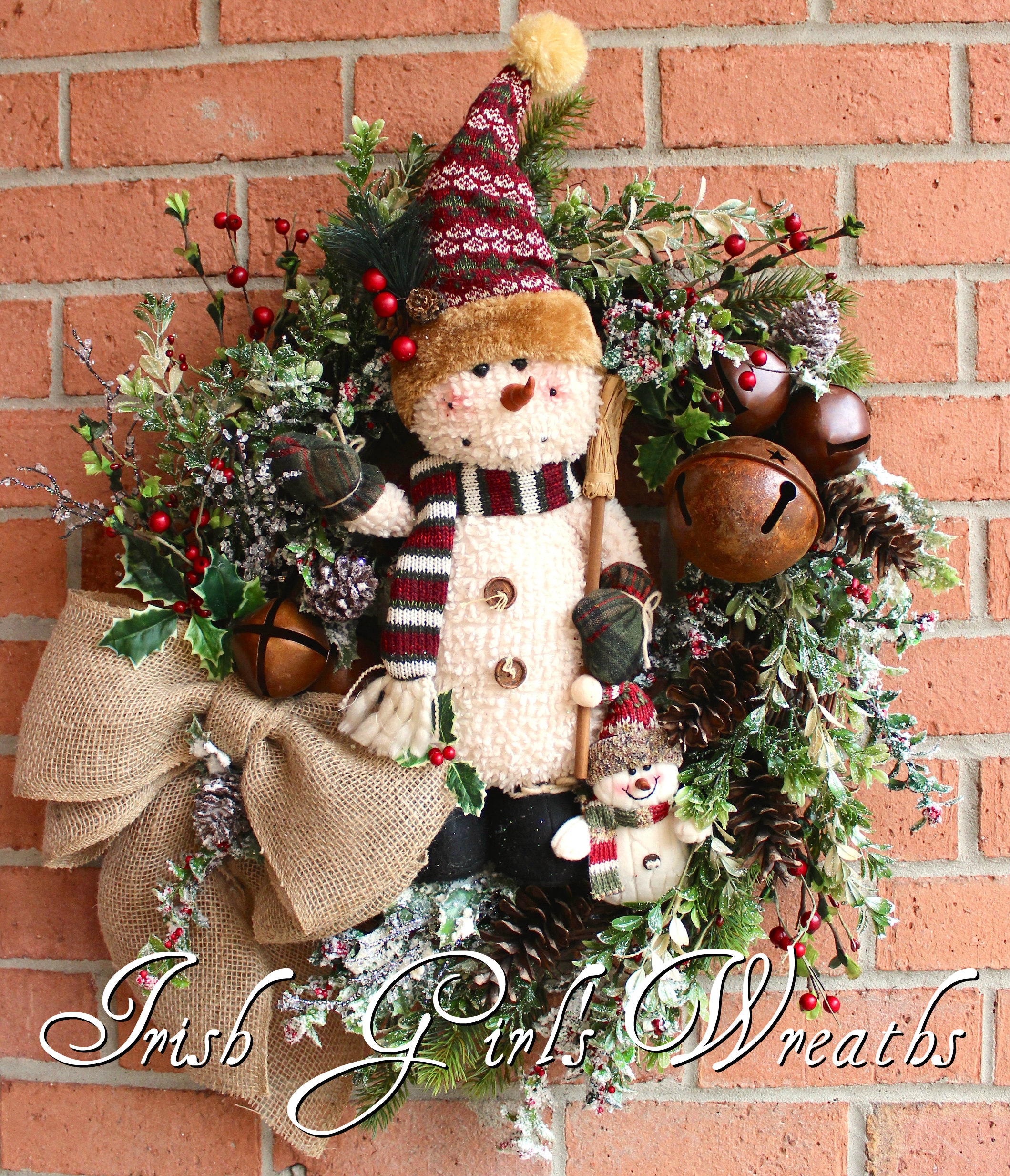 Rustic Adorable Snowman Family Wreath, Primitive Winter Sleigh Bells